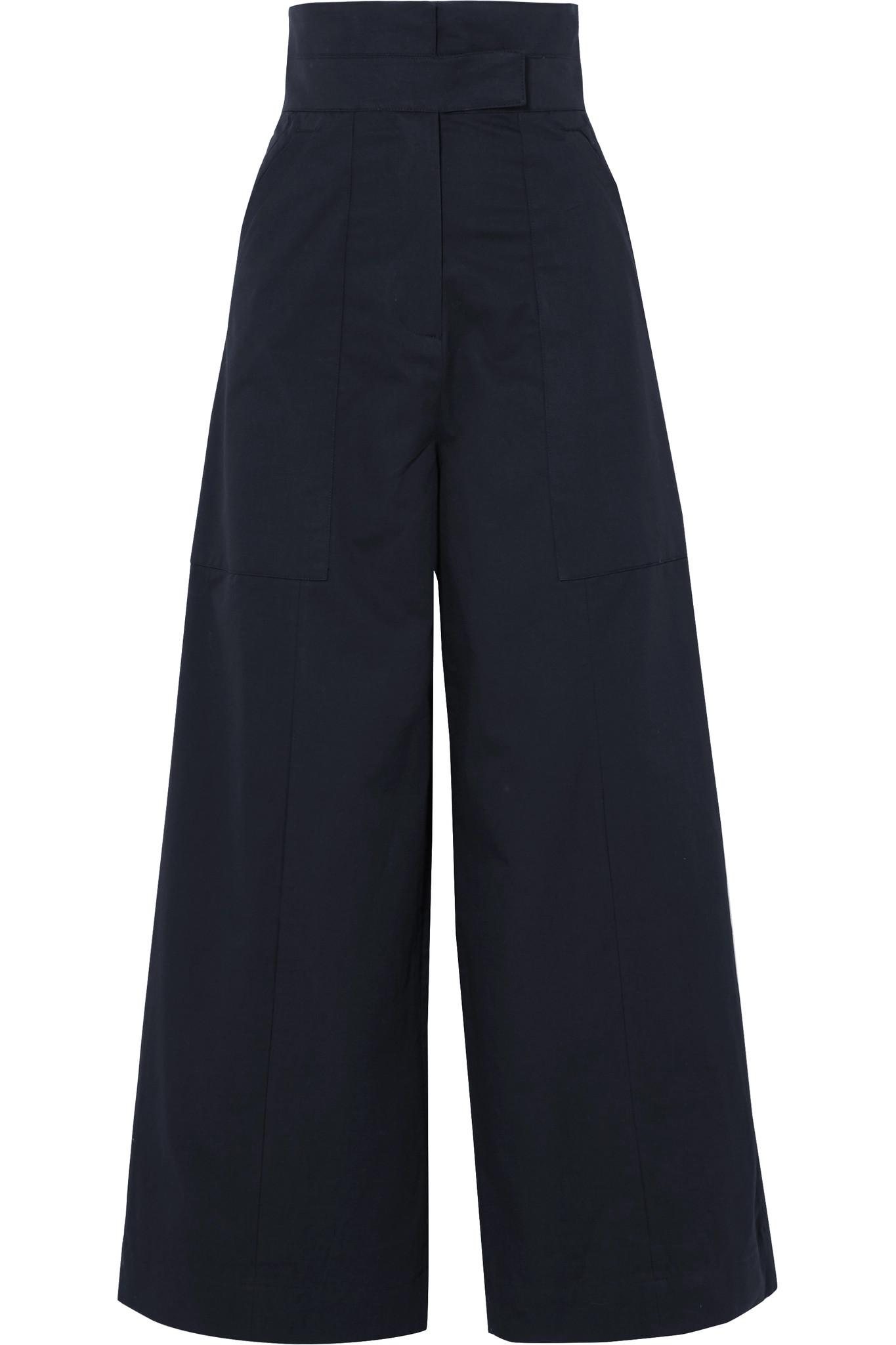 Hestia Cotton-poplin Wide-leg Pants - Navy Solace London i5C2K