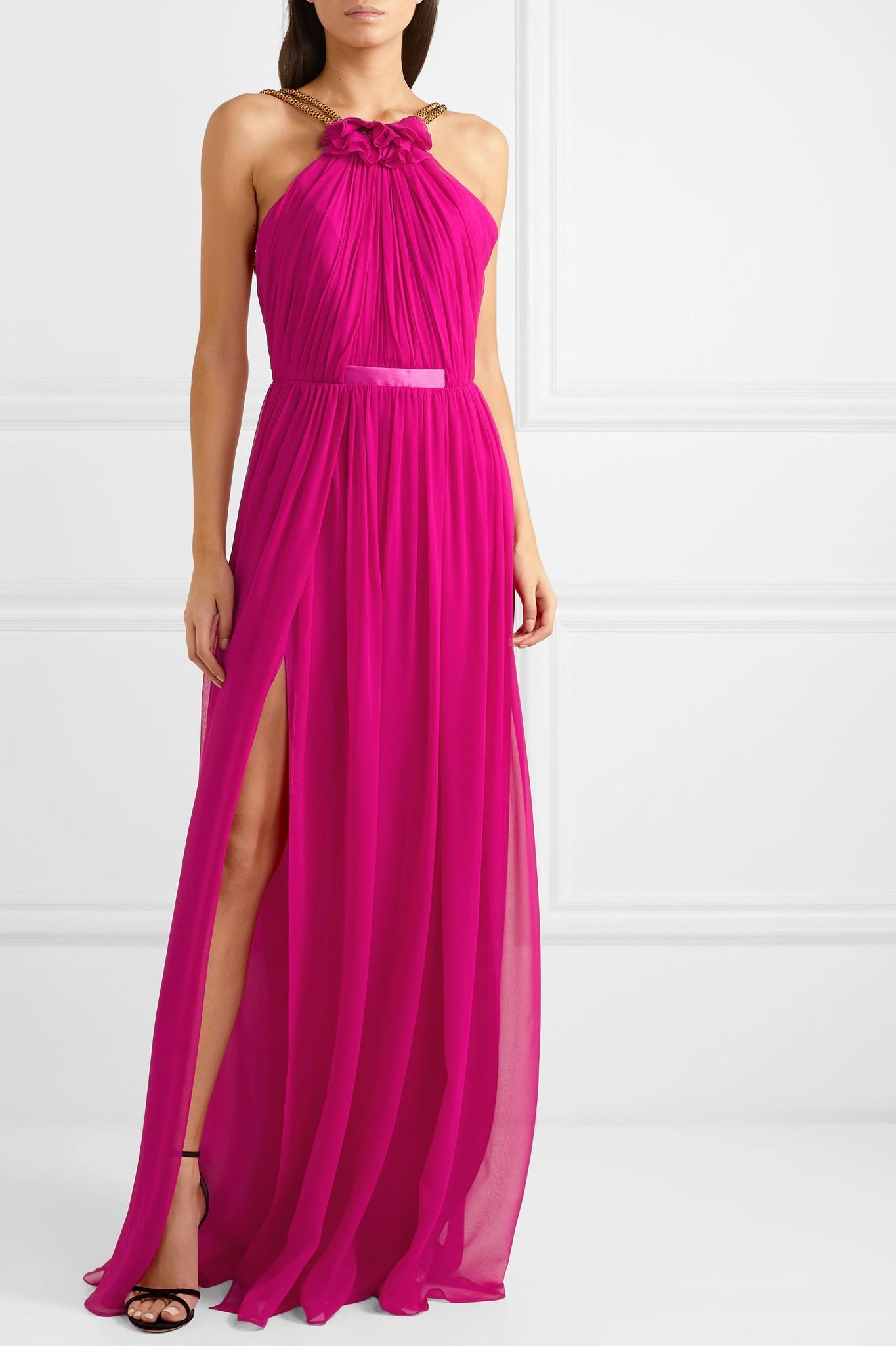 Halterneck In Embellished Silk Chiffon Emeline Lyst Gown Haney Pink b6fg7y