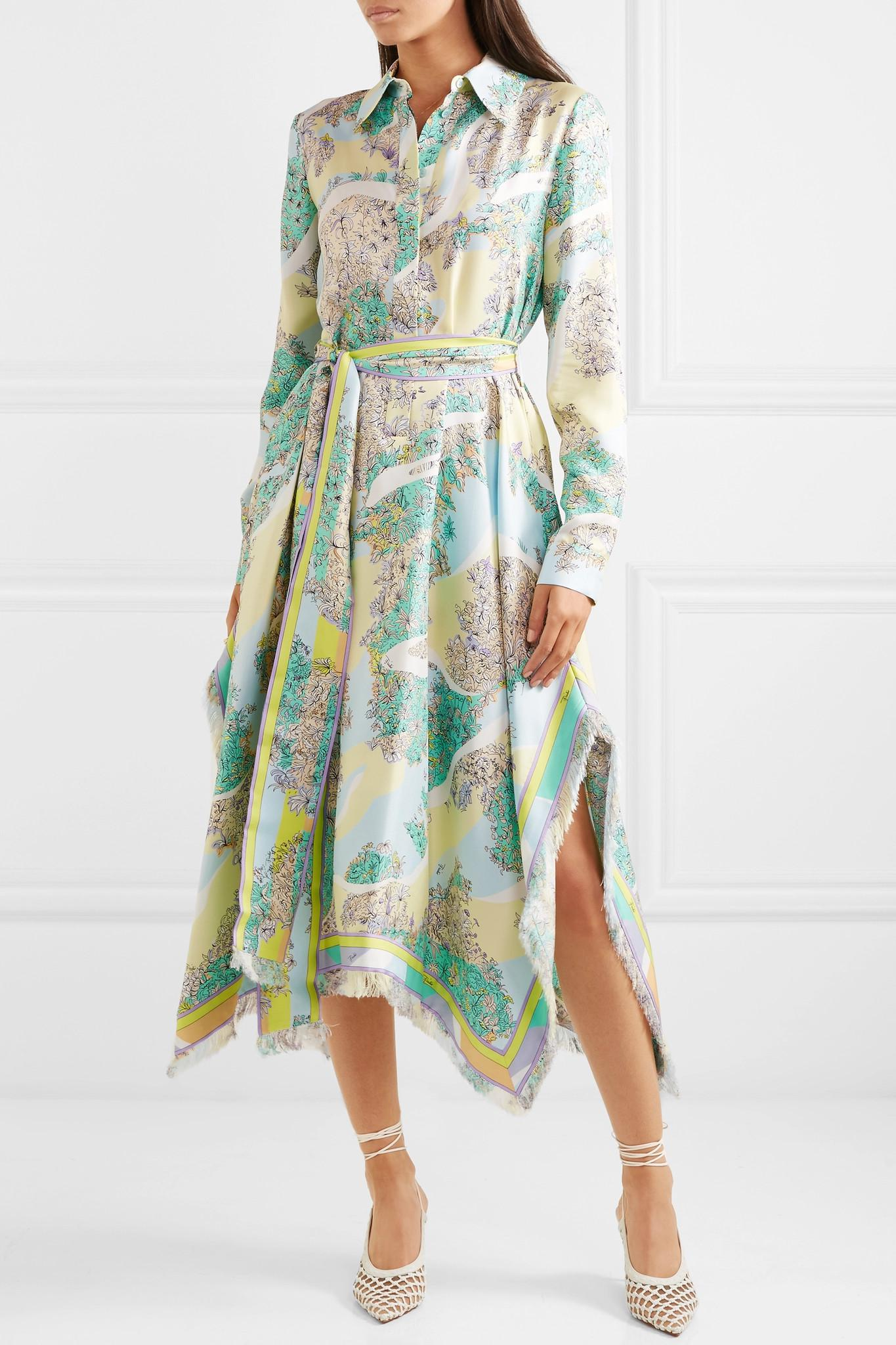 Fringed Printed Silk-twill Midi Dress - Green Emilio Pucci xBvQq