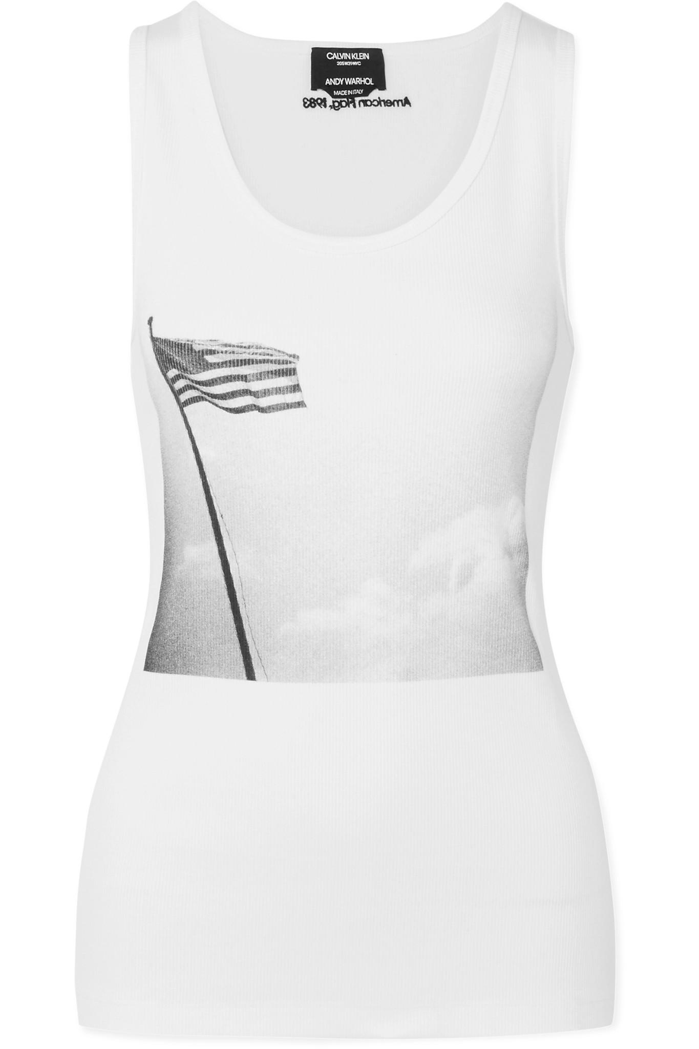 Official Site Cheap Online Buy Cheap Very Cheap + Andy Warhol Foundation Printed Ribbed Stretch-cotton Jersey Tank - White CALVIN KLEIN 205W39NYC Wholesale Price For Sale For Nice HYID8Oov88