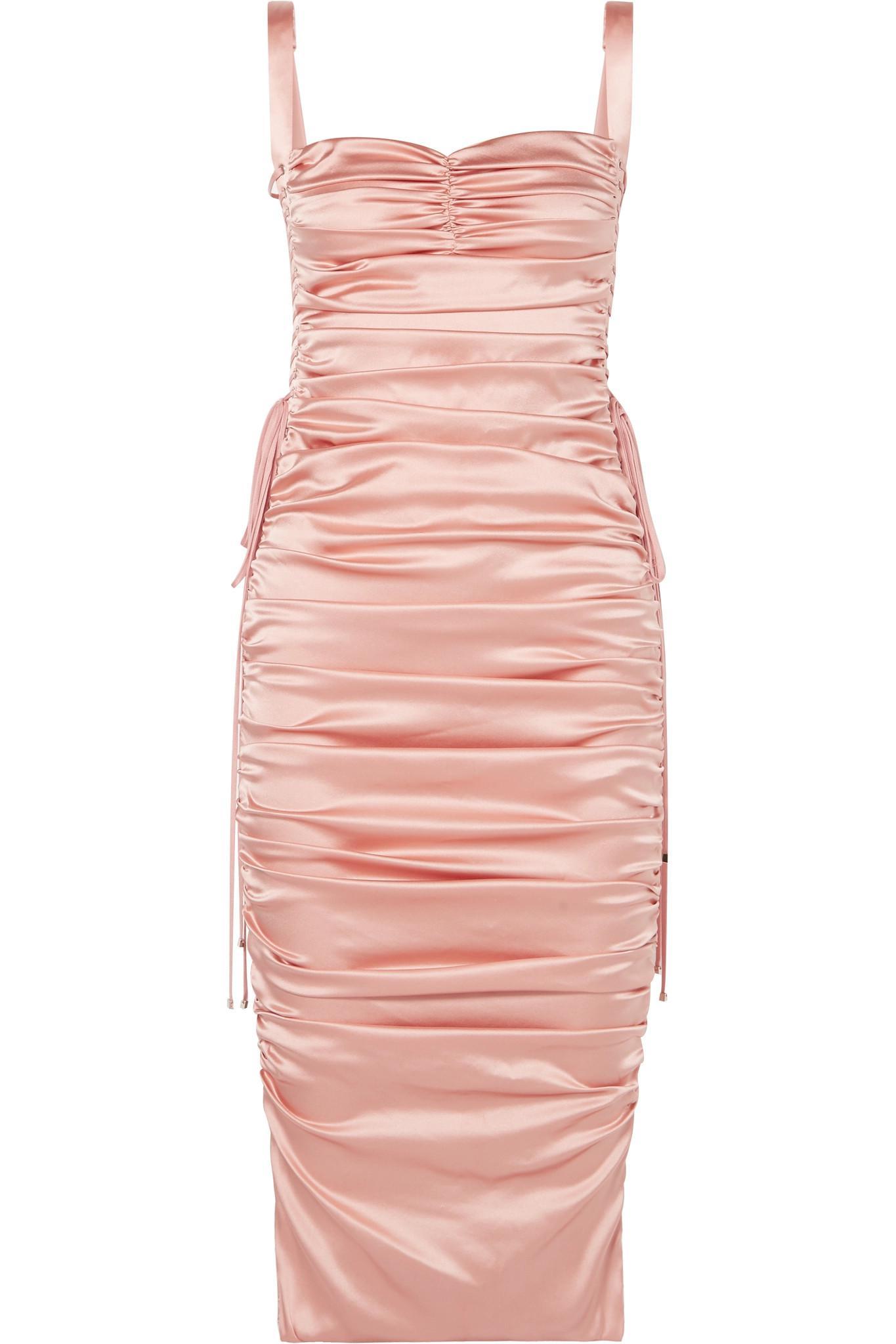 dfa7beb9c63 Dolce   Gabbana. Women s Pink Lace-up Ruched Stretch-silk Satin Midi Dress