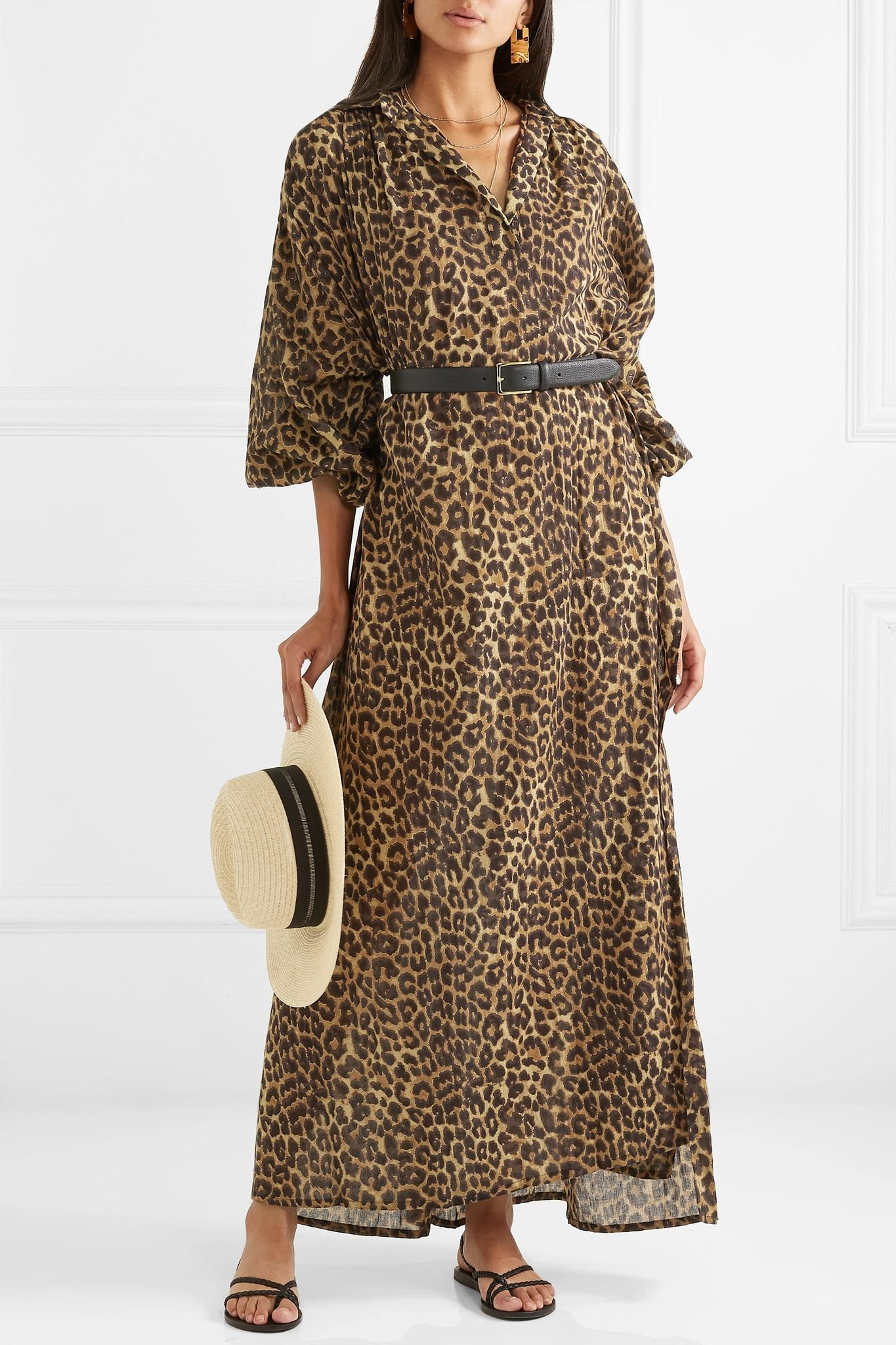 b42186d72f65 Mes Demoiselles Farouche Leopard-print Cotton-voile Kaftan in Brown ...