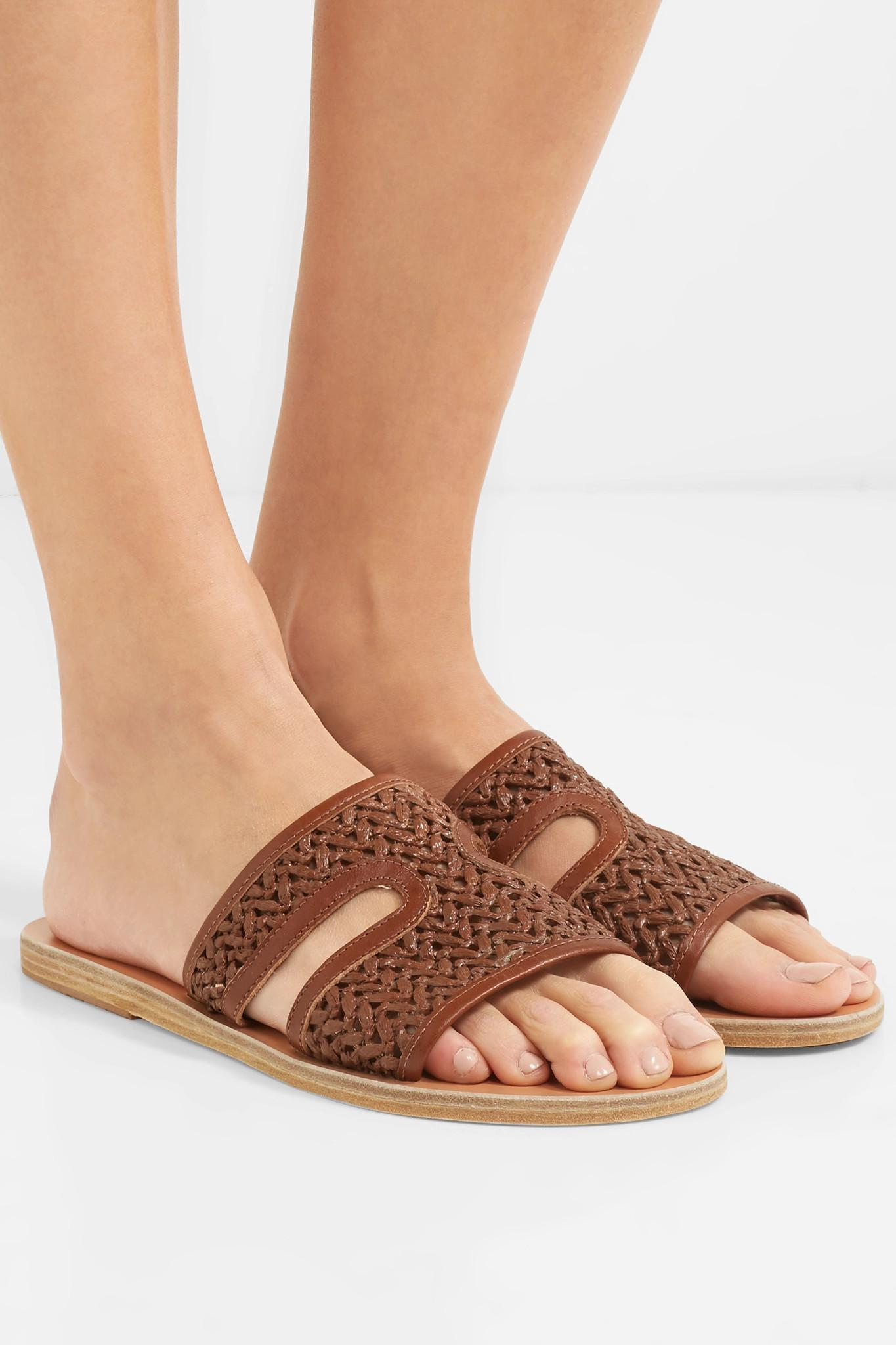 884ae140365 Ancient Greek Sandals - Brown Apteros Woven Raffia And Leather Slides -  Lyst. View fullscreen