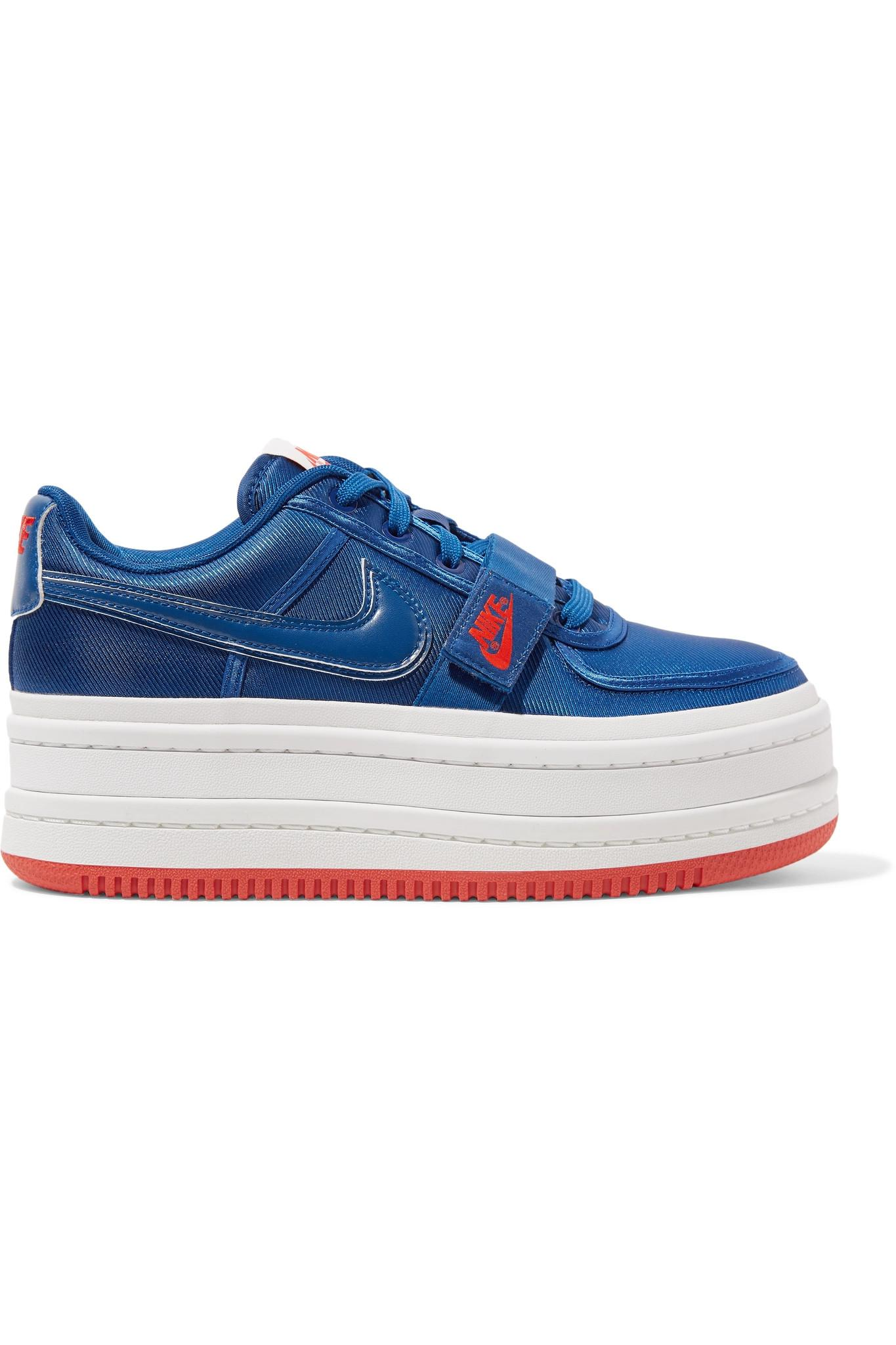 ca64da78d2cf Lyst nike vandal faux leather trimmed metallic faille platform jpg  1365x2048 Nike blue platform