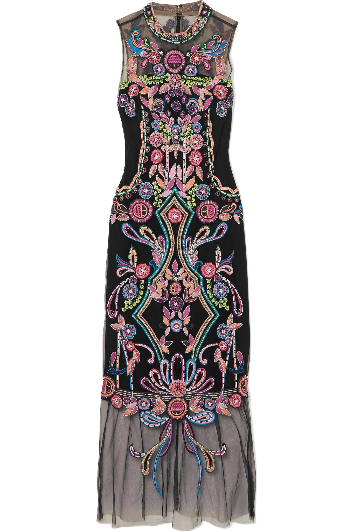 3408178e13f1d Lyst - Marchesa notte Beaded Embroidered Tulle Midi Dress in Black