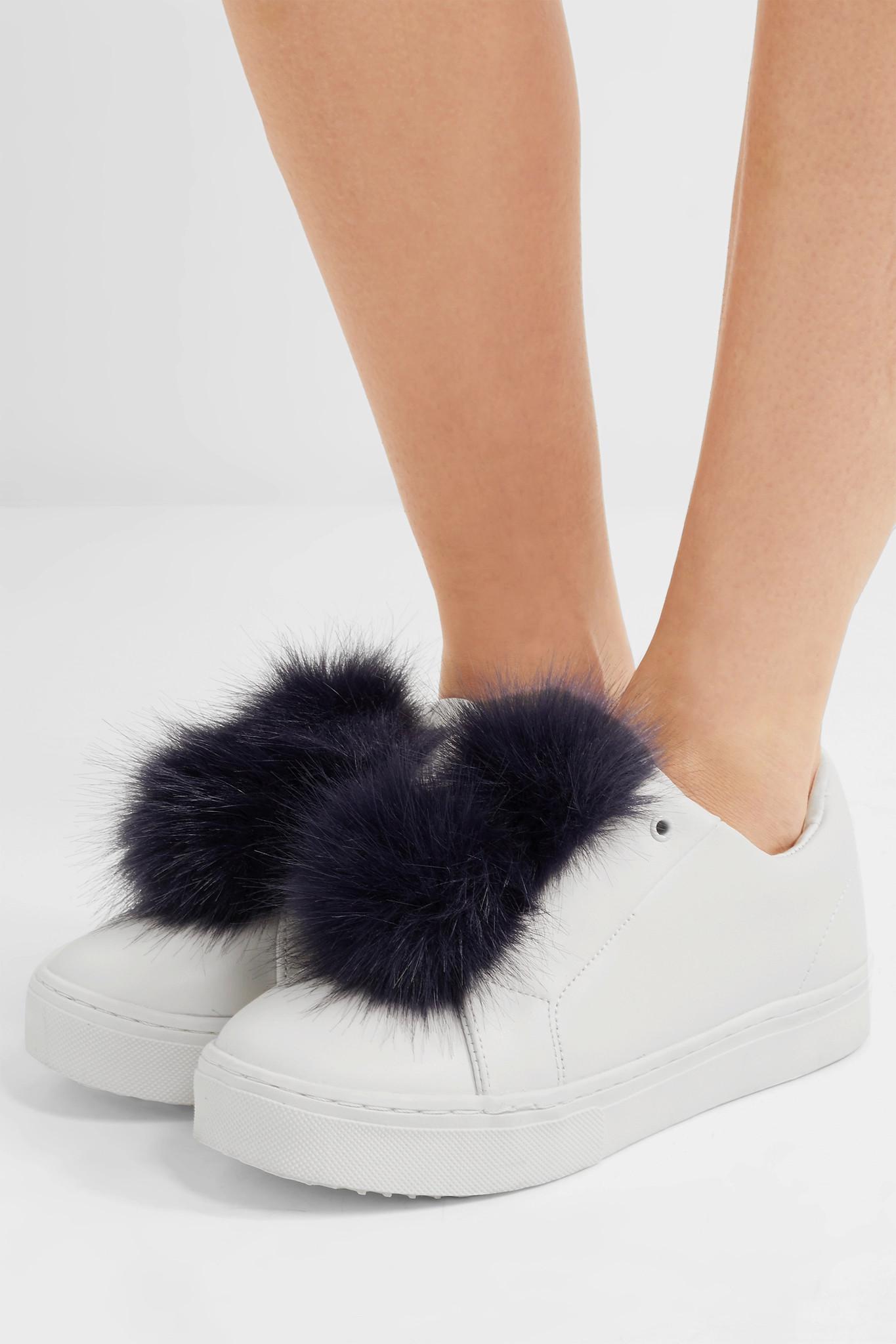 dde846b6cd3f73 Lyst - Sam Edelman Leya Faux Fur-trimmed Leather Slip-on Sneakers in ...