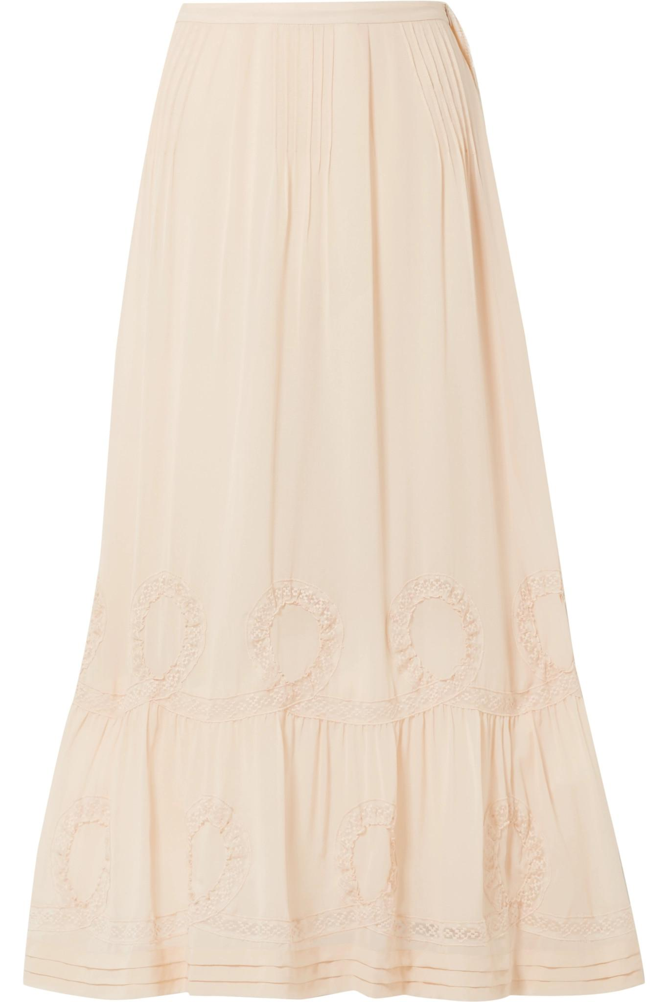 6c89a4a42d LoveShackFancy Hillary Embroidered Silk-georgette Maxi Skirt in ...