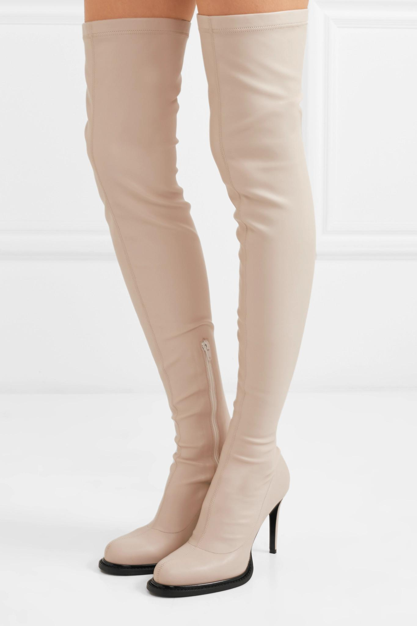 76329bd564e Lyst - Stella McCartney Faux Stretch-leather Thigh Sock Boots in White