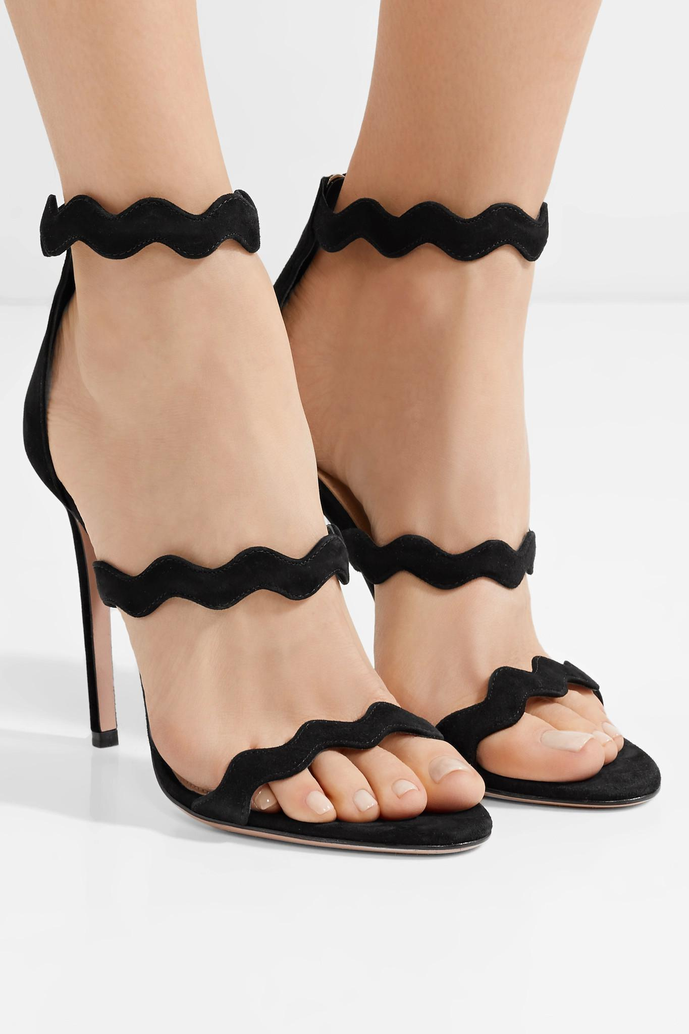 af08b72cdf8 Lyst - Prada Scalloped Suede Sandals in Black