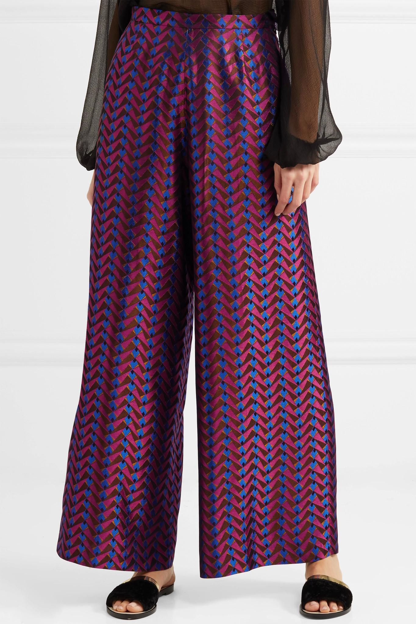 High Quality Buy Online Browse Online Metallic Jacquard Wide-leg Pants - Pink Etro Official Online Cheap Real Authentic Low Cost FDrS54mNl