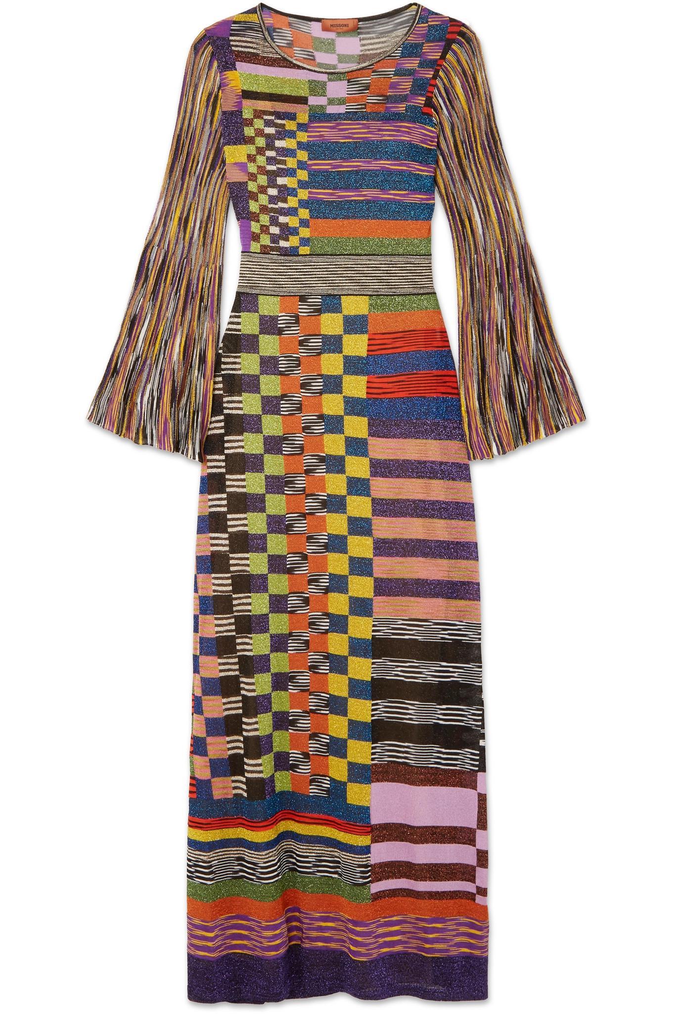 Striped Crochet-knit Maxi Dress - Purple Missoni k4x9McEHn