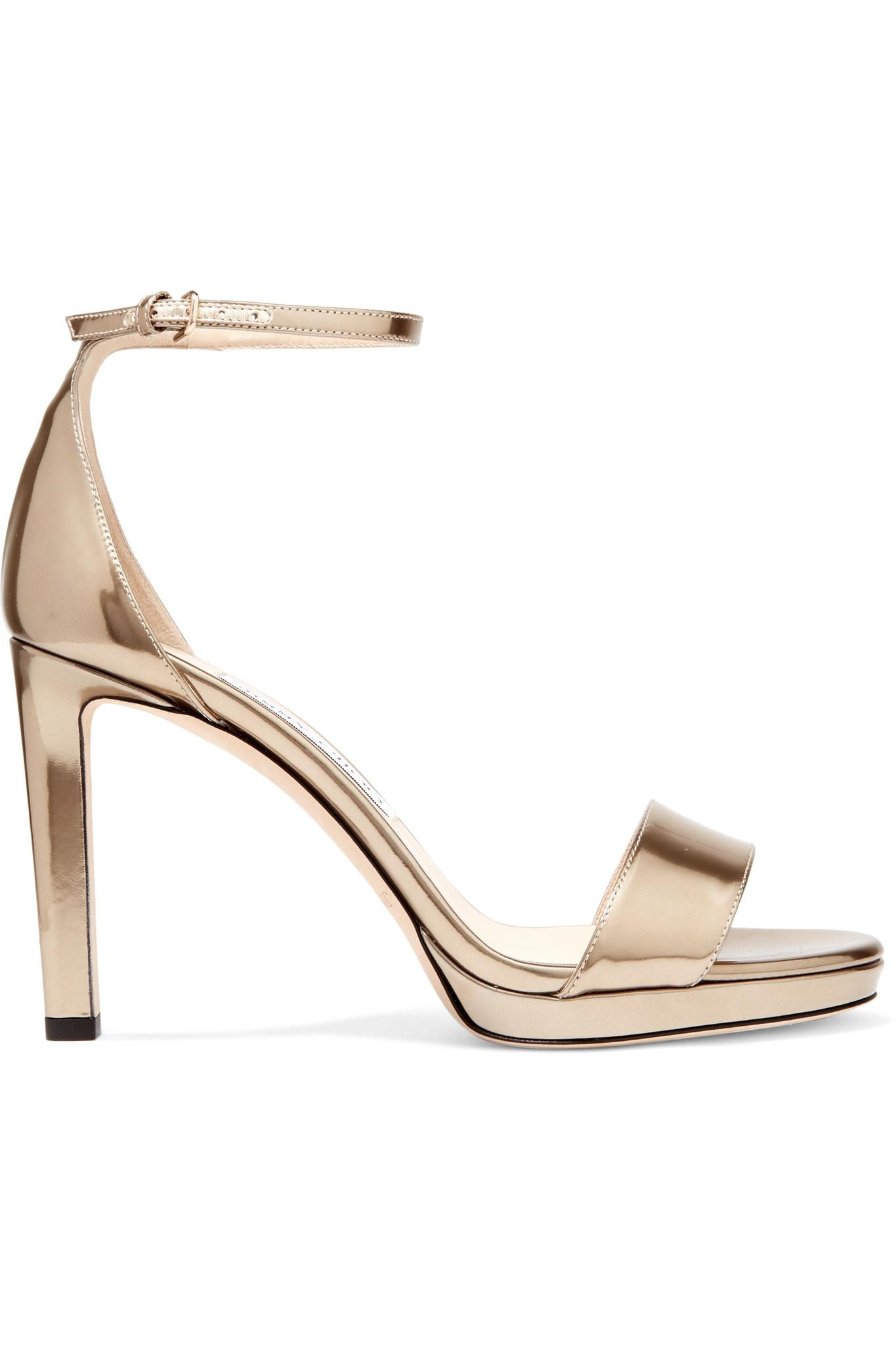 6dca13fc4fb2 Jimmy Choo Misty 100 Metallic Leather Platform Sandals in Metallic ...