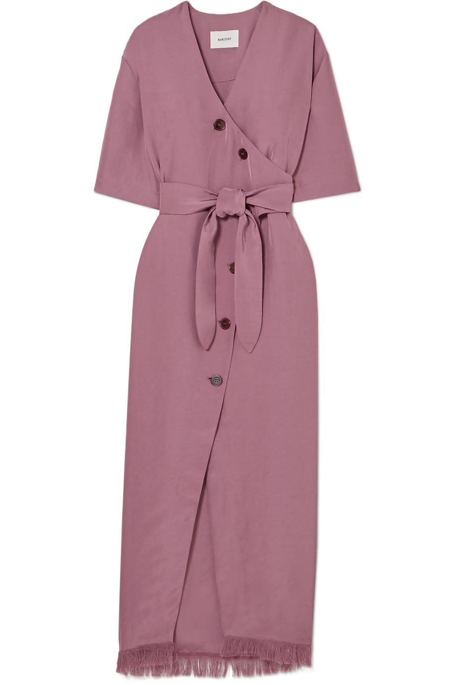 Belted Frayed Satin-twill Midi Dress - Purple Nanushka 5GyEWFX1wm
