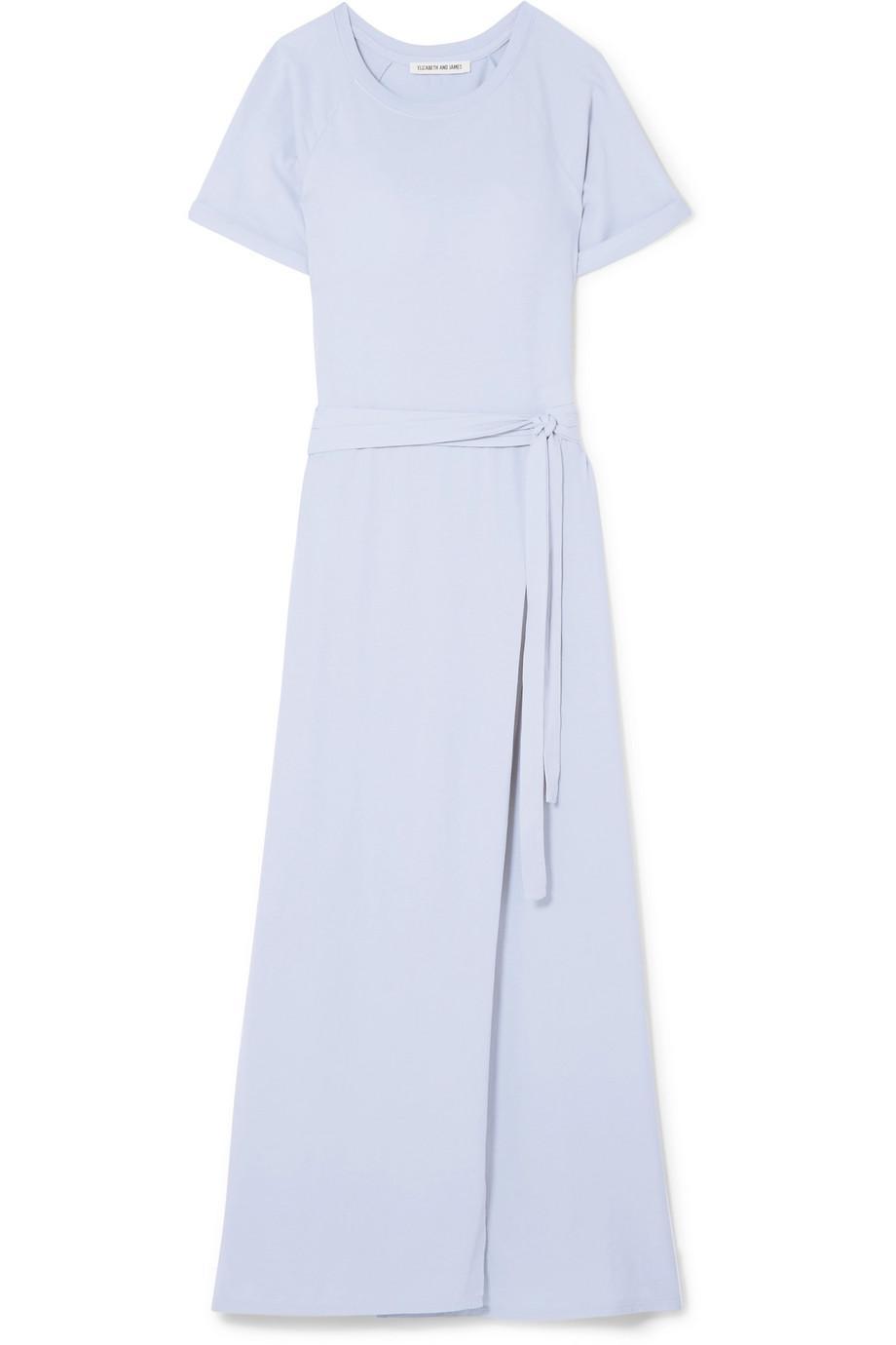 Welles Belted Cotton-jersey Maxi Dress - Light blue Elizabeth & James EH4Q0Gjd