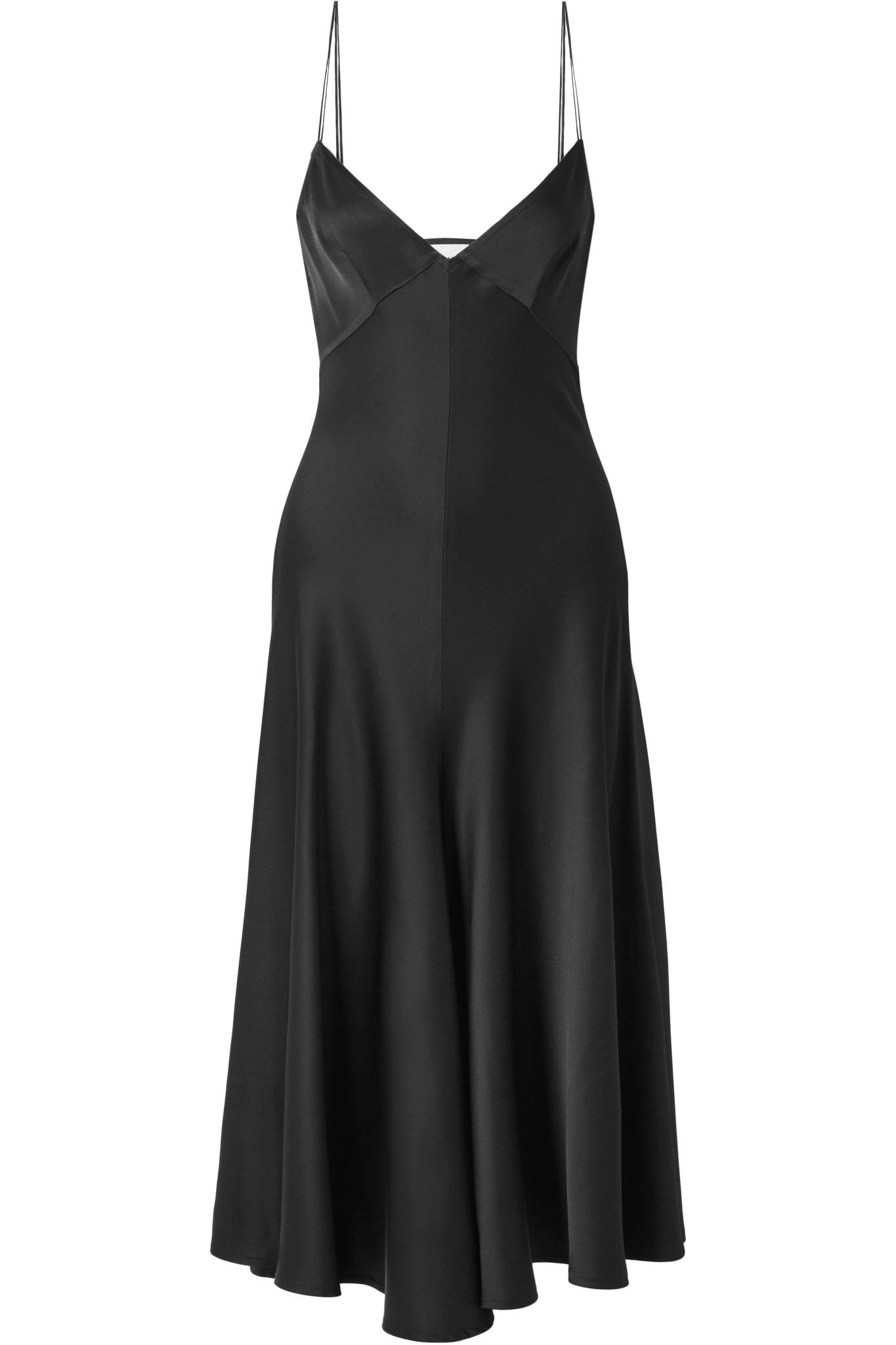 For Sale Cheap Price From China Carolina Satin-crepe Midi Dress - Black Khaite 2018 Cheap Online 100% Guaranteed Cheap Price Discount Find Great D9484H