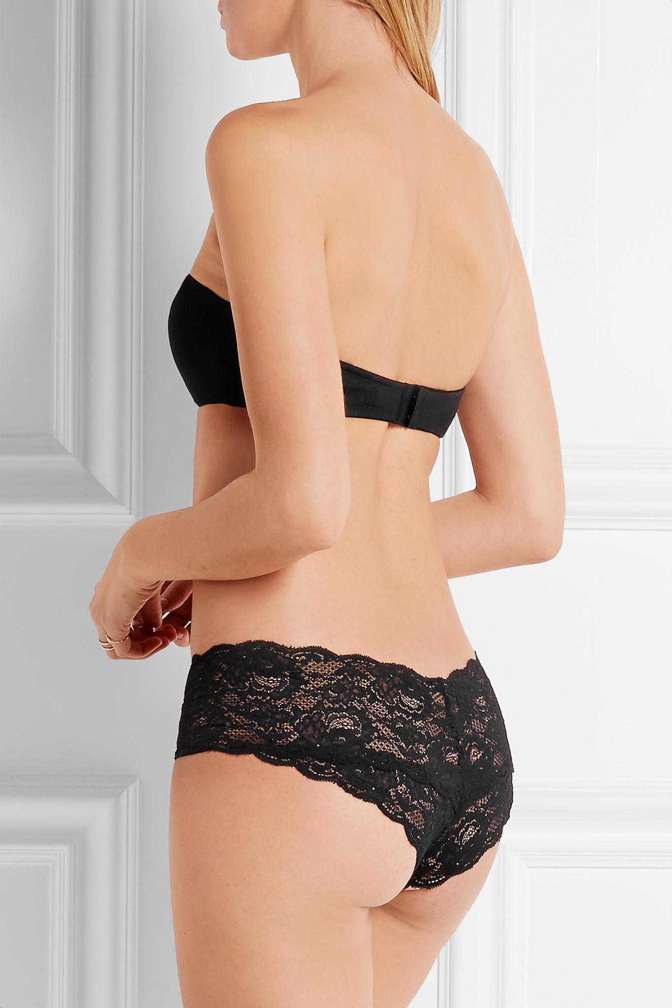 d214723357 Cosabella - Black Matte-satin And Stretch-mesh Strapless Bra - Lyst. View  fullscreen