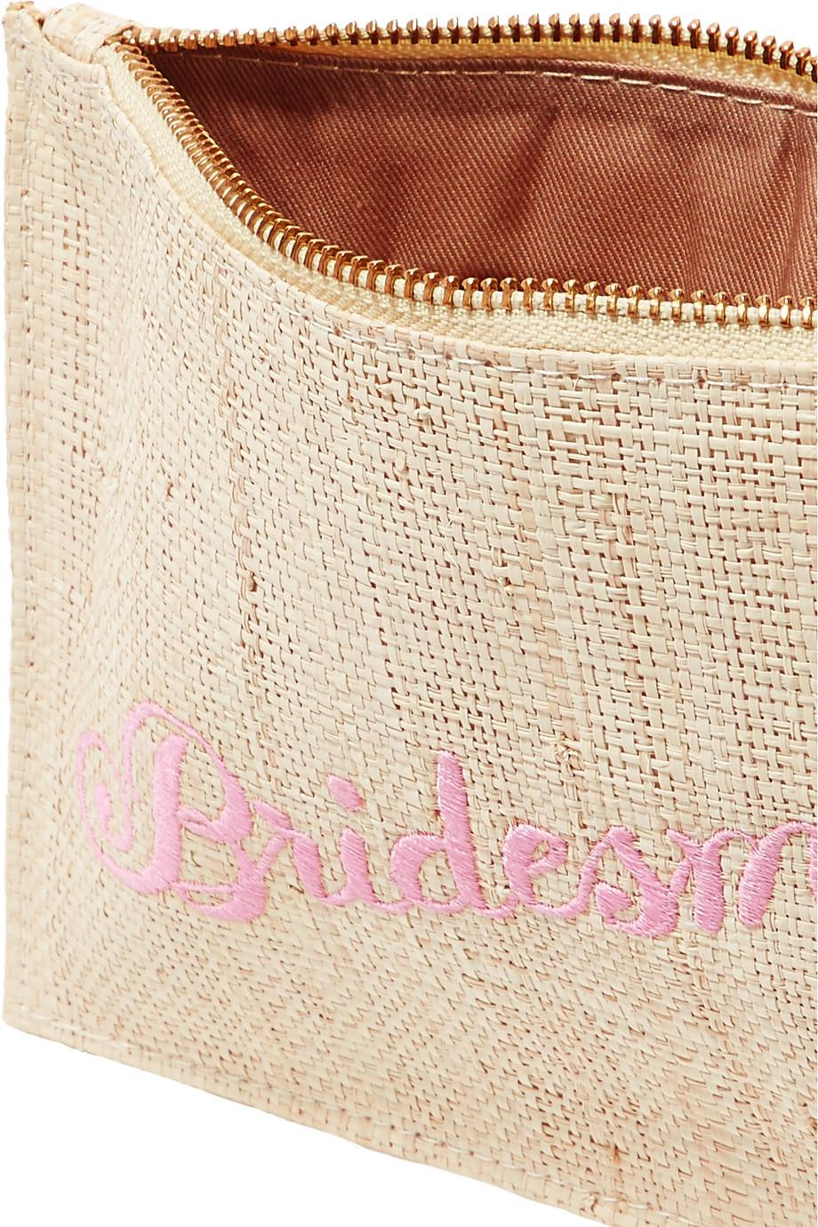 Bridesmaid Embroidered Woven Straw Pouch - Sand Kayu Cheap 100% Authentic BSoovNK