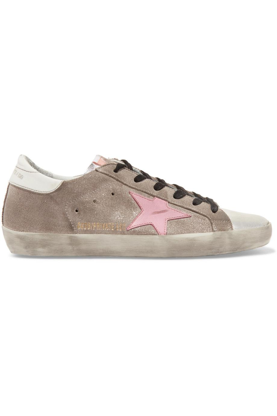 Superstar Distressed Glittered Suede And Leather Sneakers - Silver Golden Goose bhqU3aJu