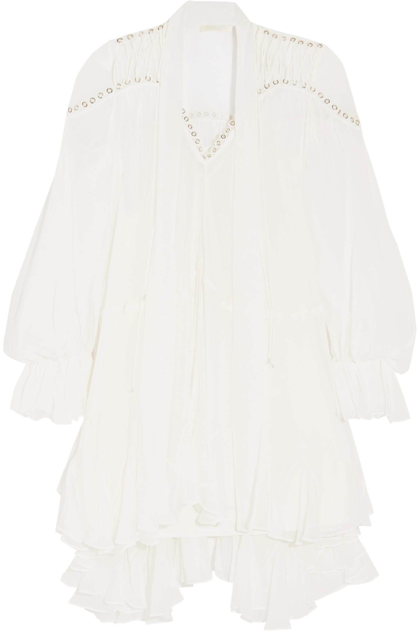 Eyelet-embellished Silk-chiffon Mini Dress - White Jonathan Simkhai g2ABuzN