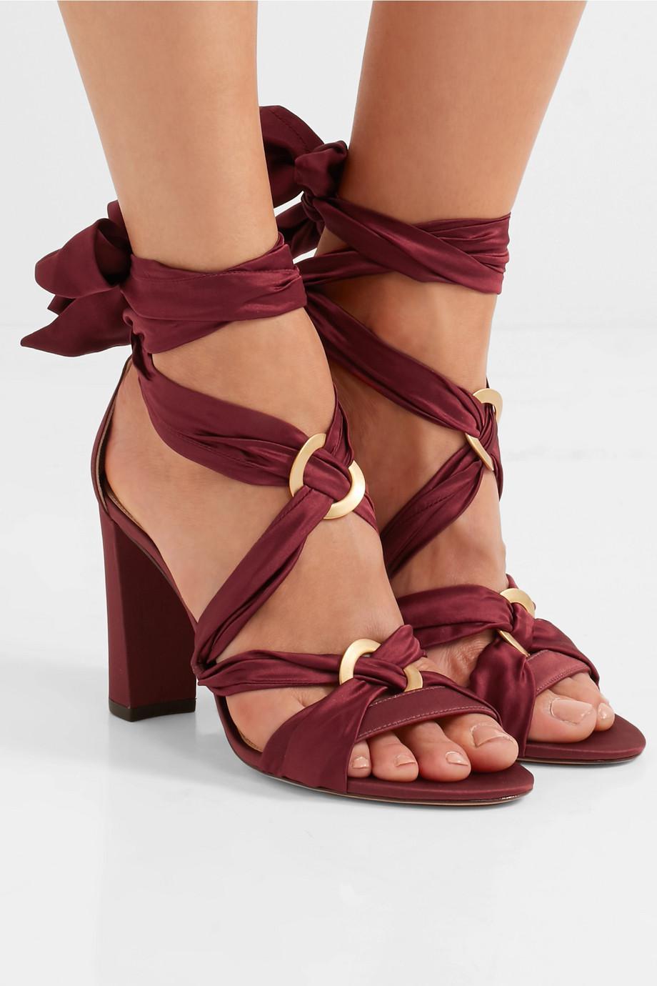 Lyst Alexandre Birman Alessa Lace Up Satin Sandals In Red Clarette Wedges Cordelia Black Gallery