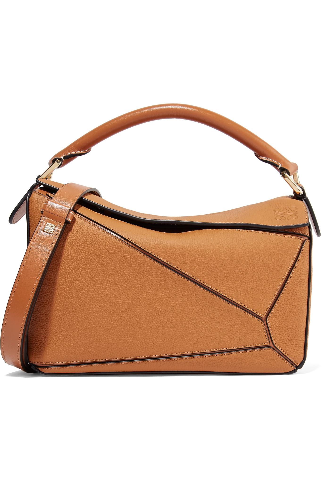 92736dccb710 Loewe Puzzle Small Textured-leather Shoulder Bag in Brown - Save 27 ...