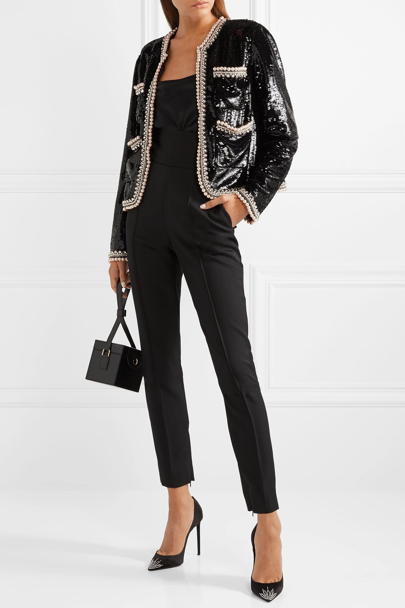 fbe24e47503d Gucci - Black Faux Pearl And Crystal-trimmed Sequined Crepe Jacket - Lyst.  View fullscreen