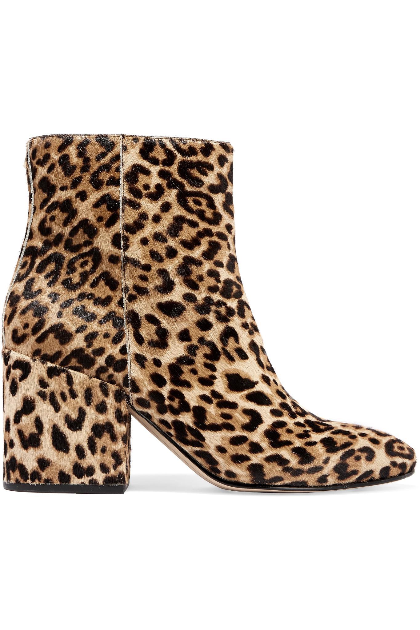 0fc6d1e93843db Lyst - Sam Edelman Taye Leopard-print Calf Hair Ankle Boots in Brown