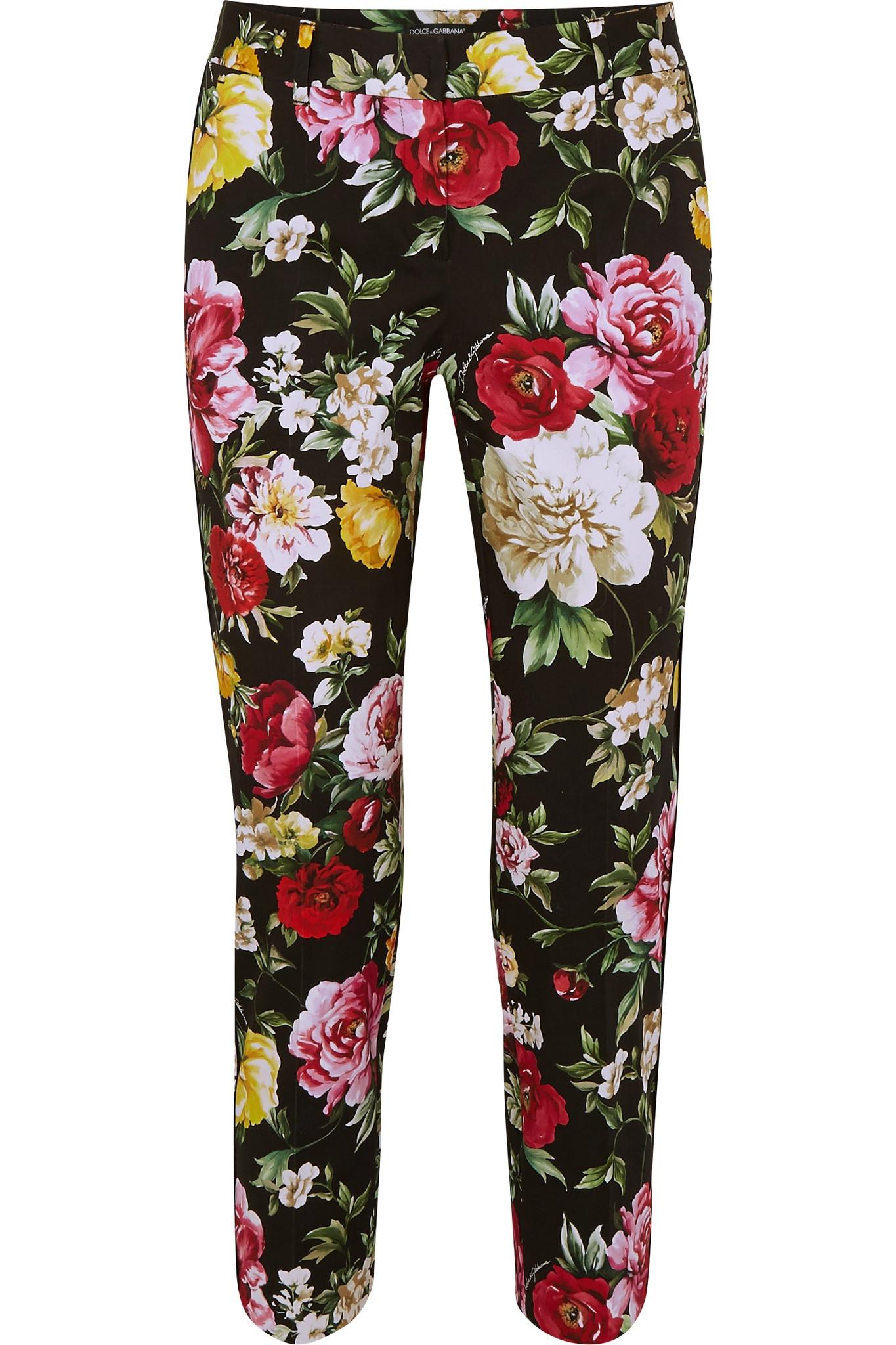 Floral-prined stretch-cotton trousers Dolce & Gabbana Ftsk3UDUua