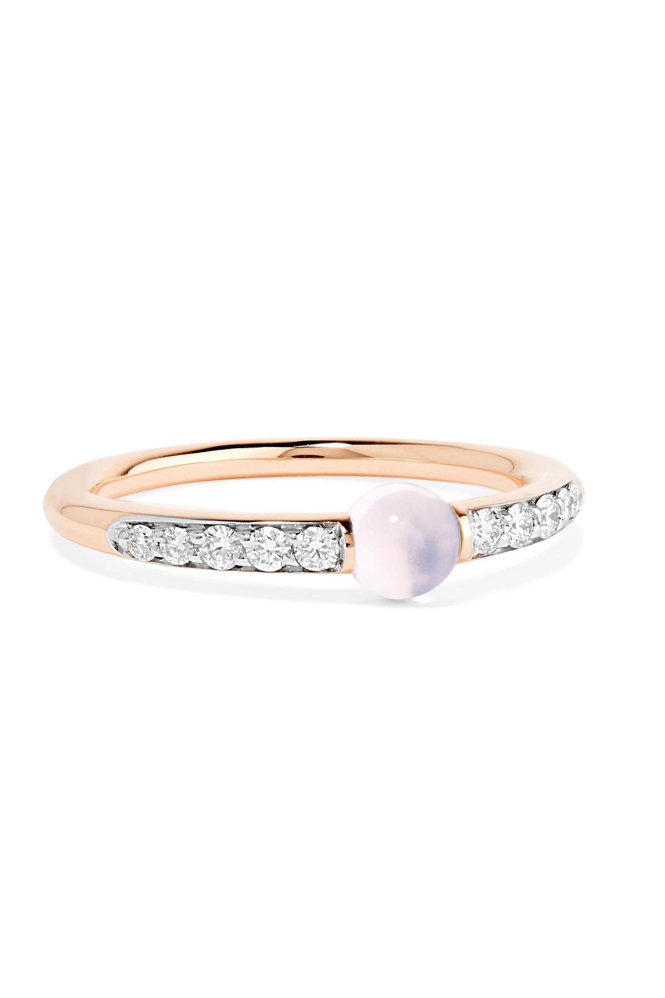 POMELLATO Mama Non Mama 18-karat Rose Gold, Diamond And Moonstone Ring