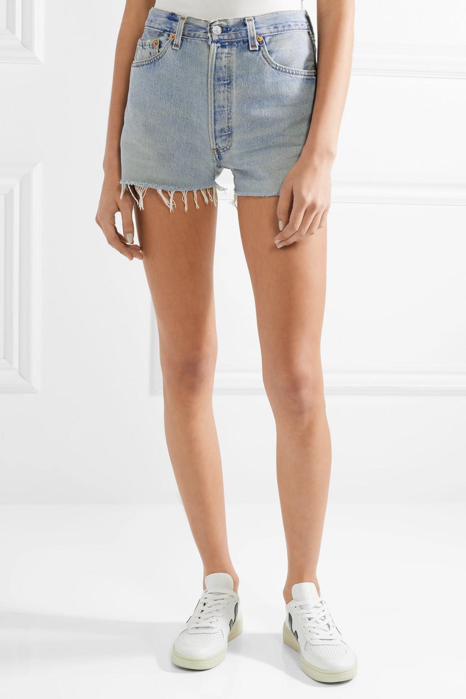 + Levis Zip-embellished Frayed Denim Shorts - Light denim Re/Done G7X9Xkx7