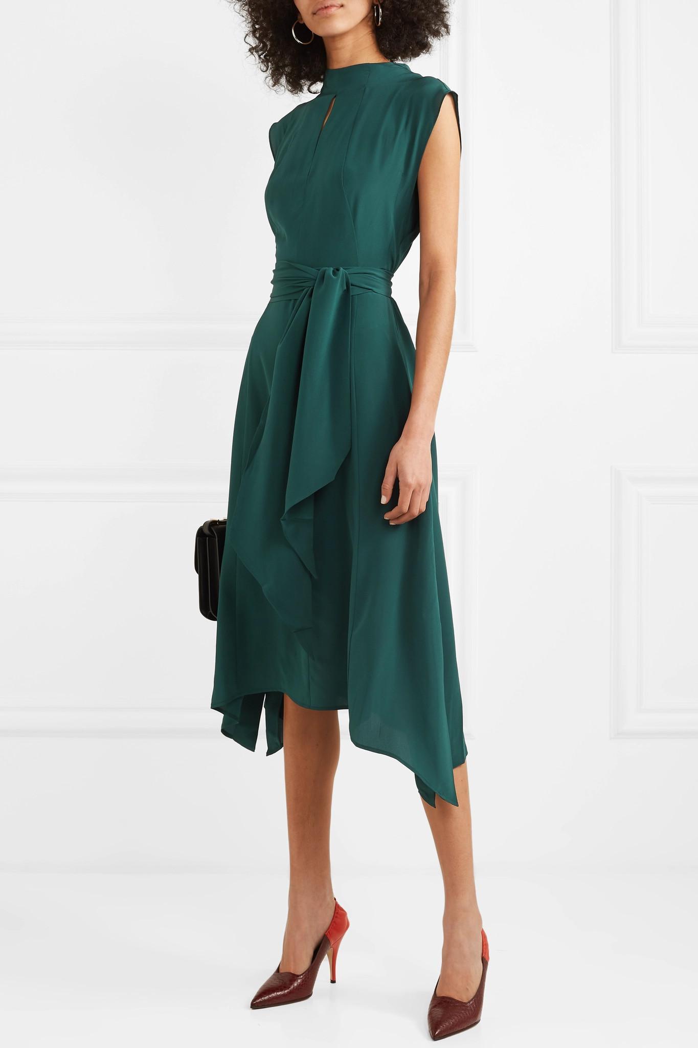 1bb112ee45 Lyst - Cefinn Mia Belted Silk-satin Midi Dress in Green