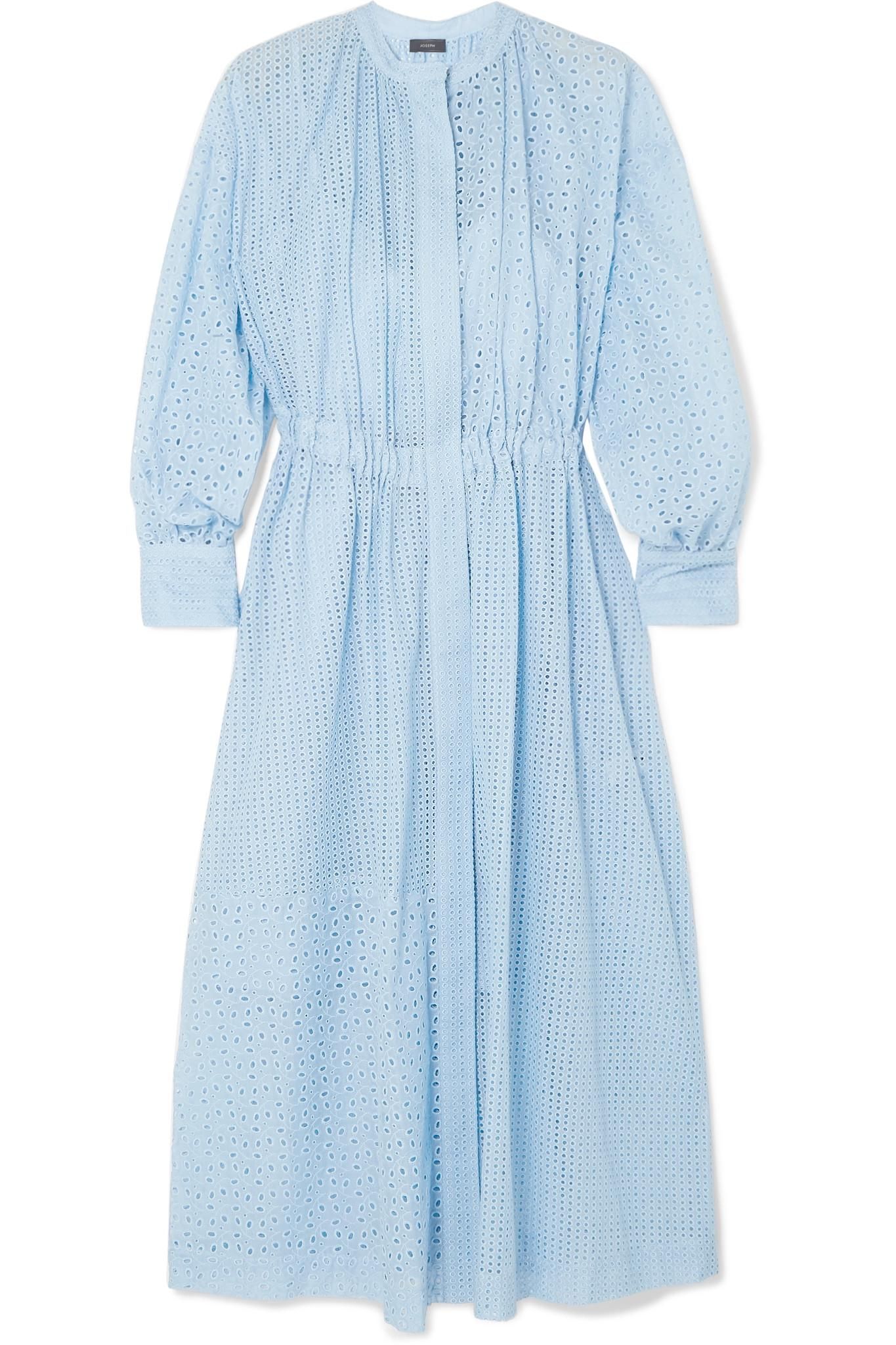 11c6c0269242 Lyst - JOSEPH Rafael Broderie Anglaise Cotton-blend Midi Dress in Blue