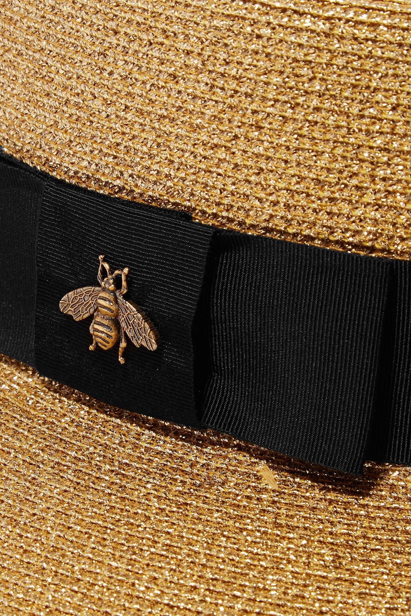 0c4045b298e Lyst - Gucci Grosgrain-trimmed Glittered Straw Hat in Metallic