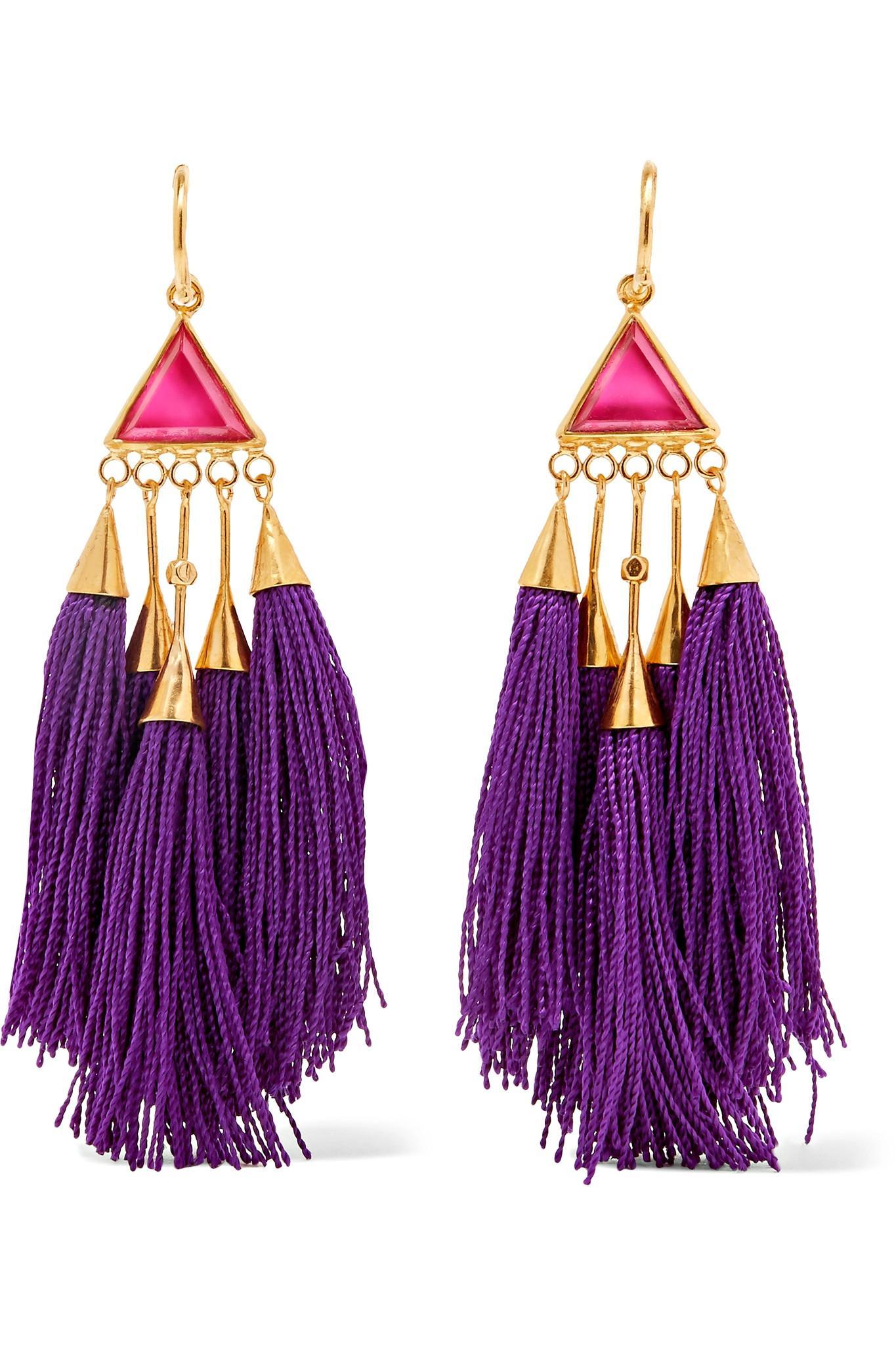Tasseled Gold-tone Crystal Earrings - Purple Katerina Makriyianni YF55Nwp
