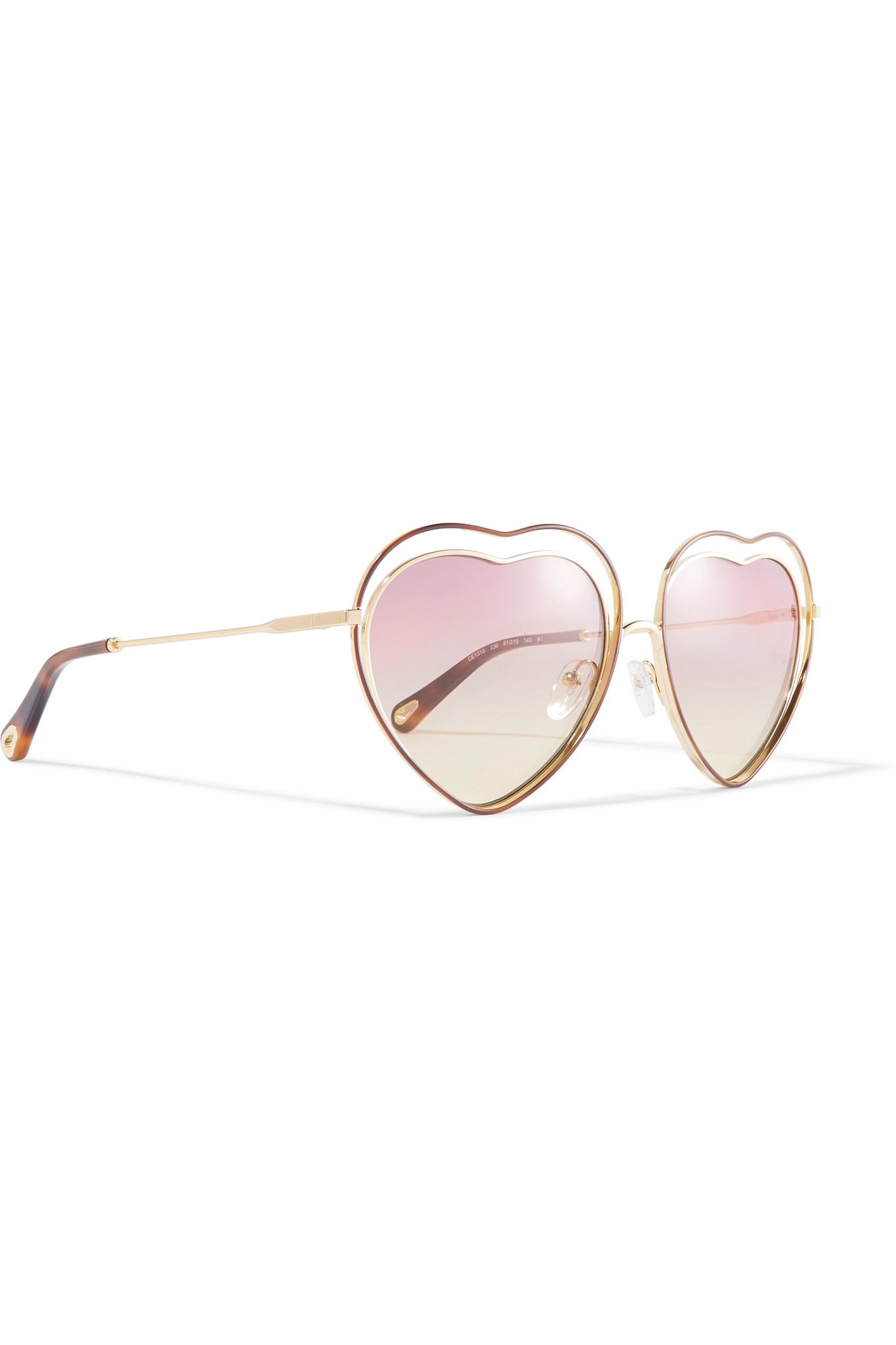 860882250bb Lyst - Chloé Poppy Love Heart-shaped Acetate And Gold-tone ...