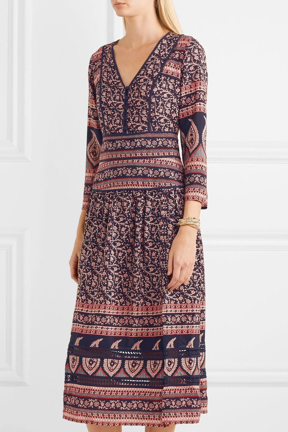 Low Cost Free Shipping Cheapest Price Aurora Printed Cotton Midi Dress - Navy Sea New York 2018 Cheap Sale Many Kinds Of Sale Online Cheap Sale Collections x2ixY
