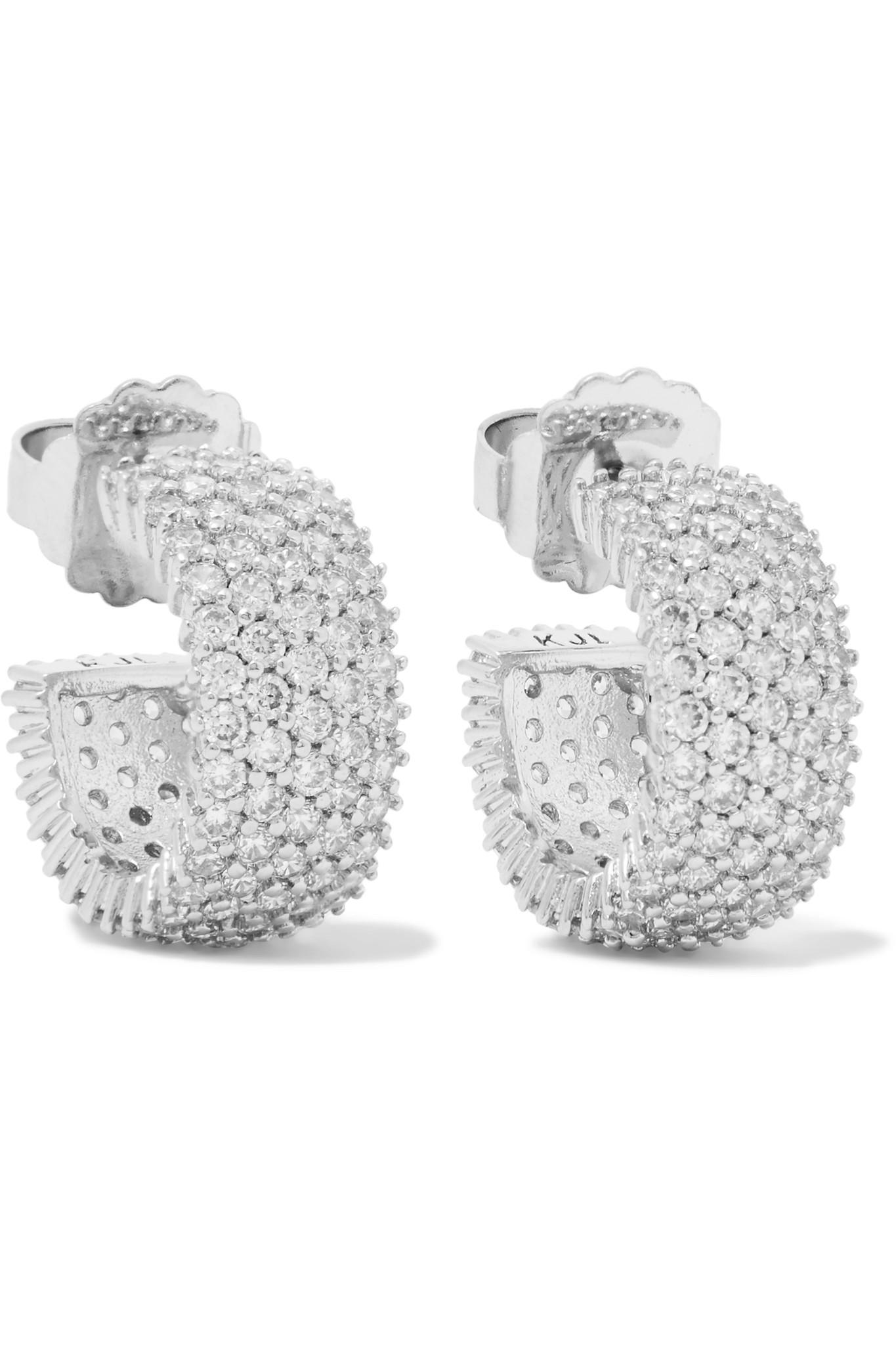 Kenneth Jay Lane Rhodium-plated Crystal Hoop Earrings - Silver 2psQNLymDU
