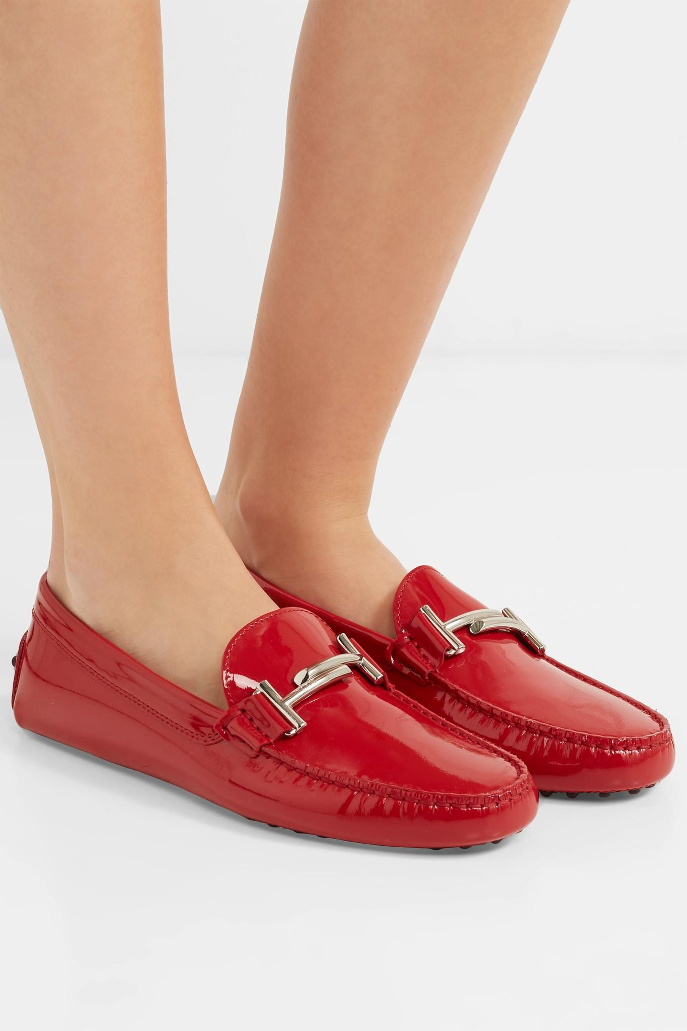 8fc093214a3 Tod s - Red Gommino Embellished Patent-leather Loafers - Lyst. View  fullscreen
