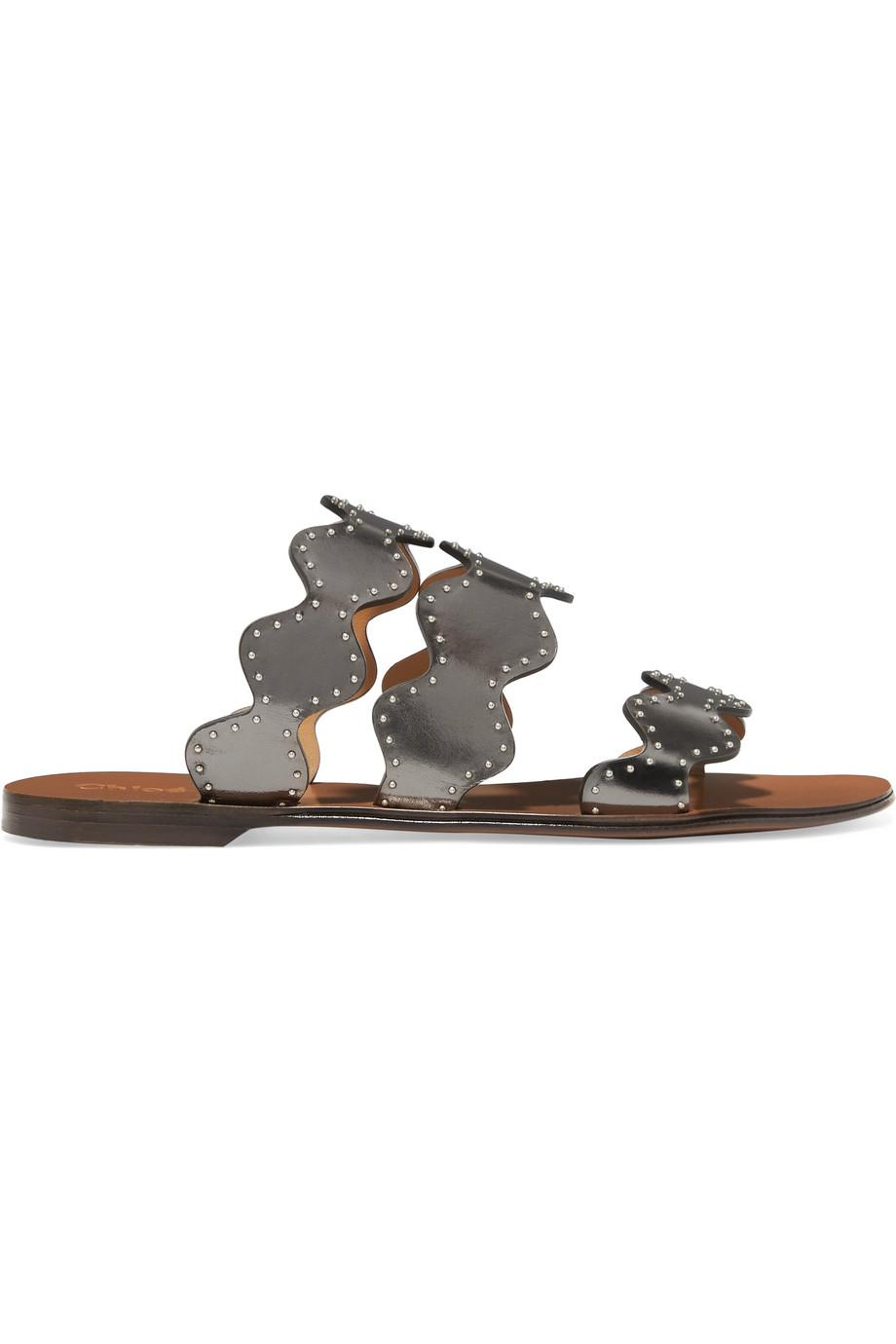 Clearance Official Site Sale Online Store Chloé Lauren Scalloped Embellished Metallic Leather Slides - Gunmetal Online Cheap Price FY7qGNr