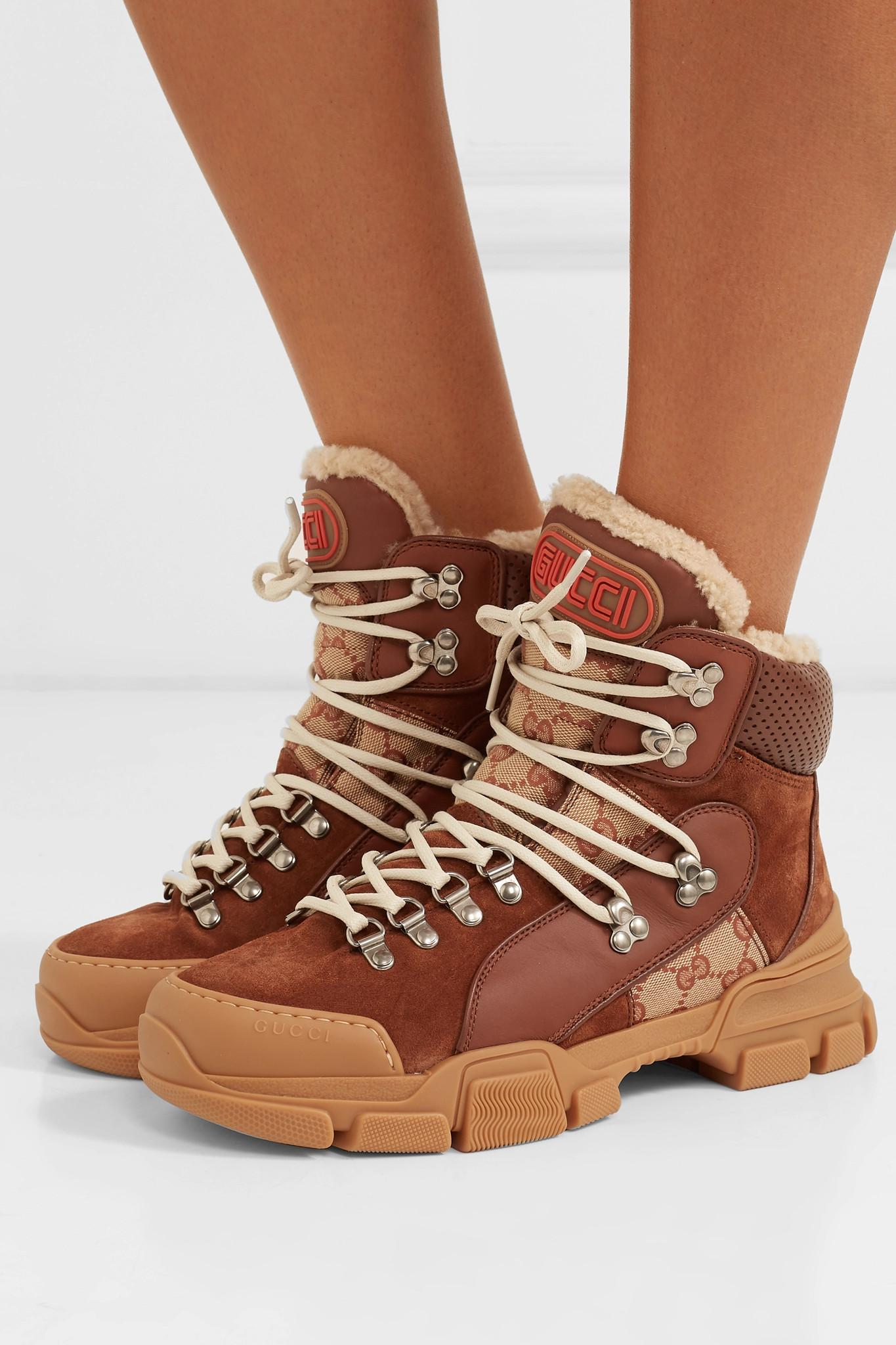 a83a33aad2c Lyst - Gucci Flashtrek Faux Shearling-trimmed Suede