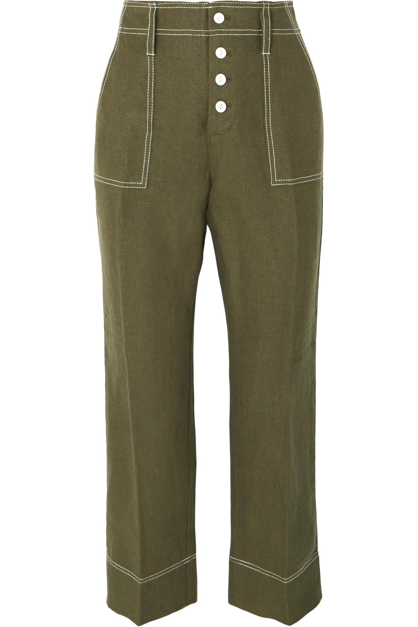 Foundry Cropped Linen Flared Pants - Green J.crew oUQcoksKVE