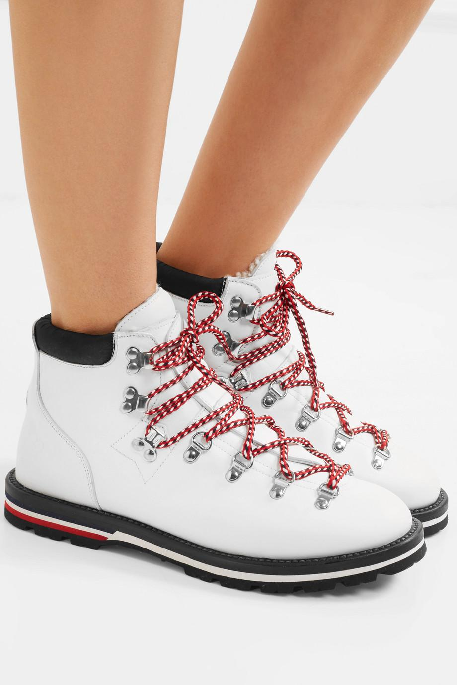 Blanche Shearling-lined Leather Ankle Boots - White Moncler ot7GeEwf1q