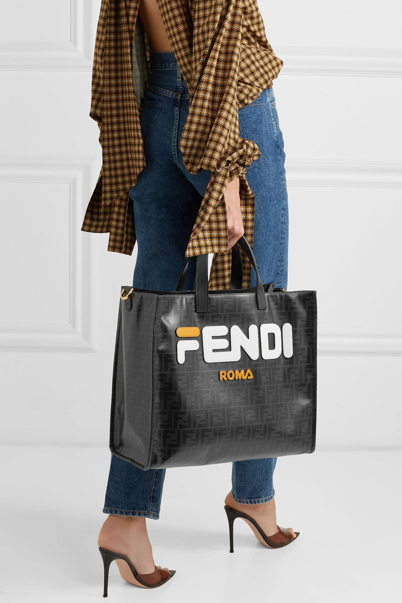 a100a771ea Fendi - Black Leather-appliquéd Coated-canvas Tote - Lyst. View fullscreen