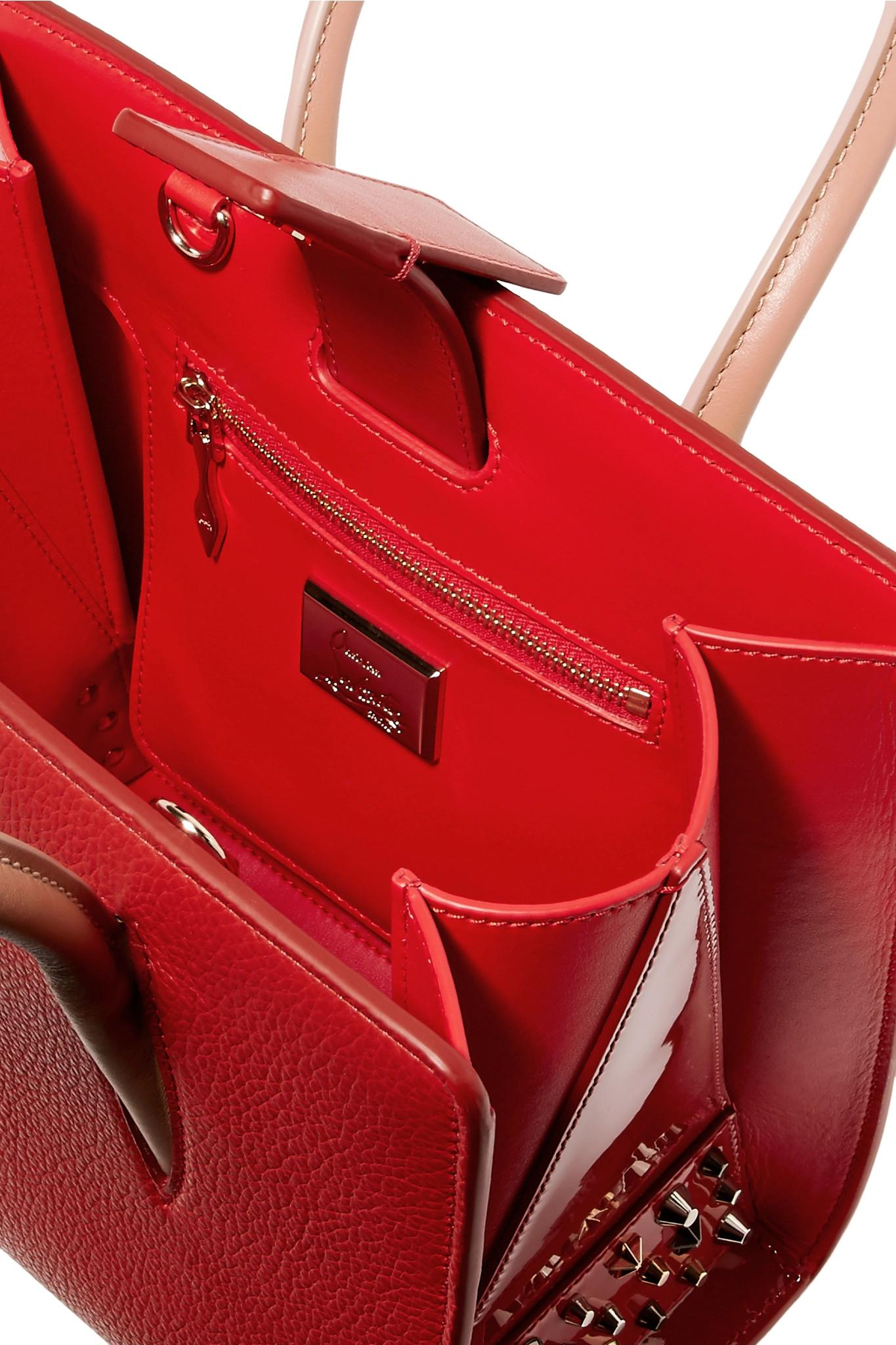 c9ab65e08f Christian Louboutin - Paloma Small Studded Textured-leather Tote Red One  Size - Lyst. View fullscreen