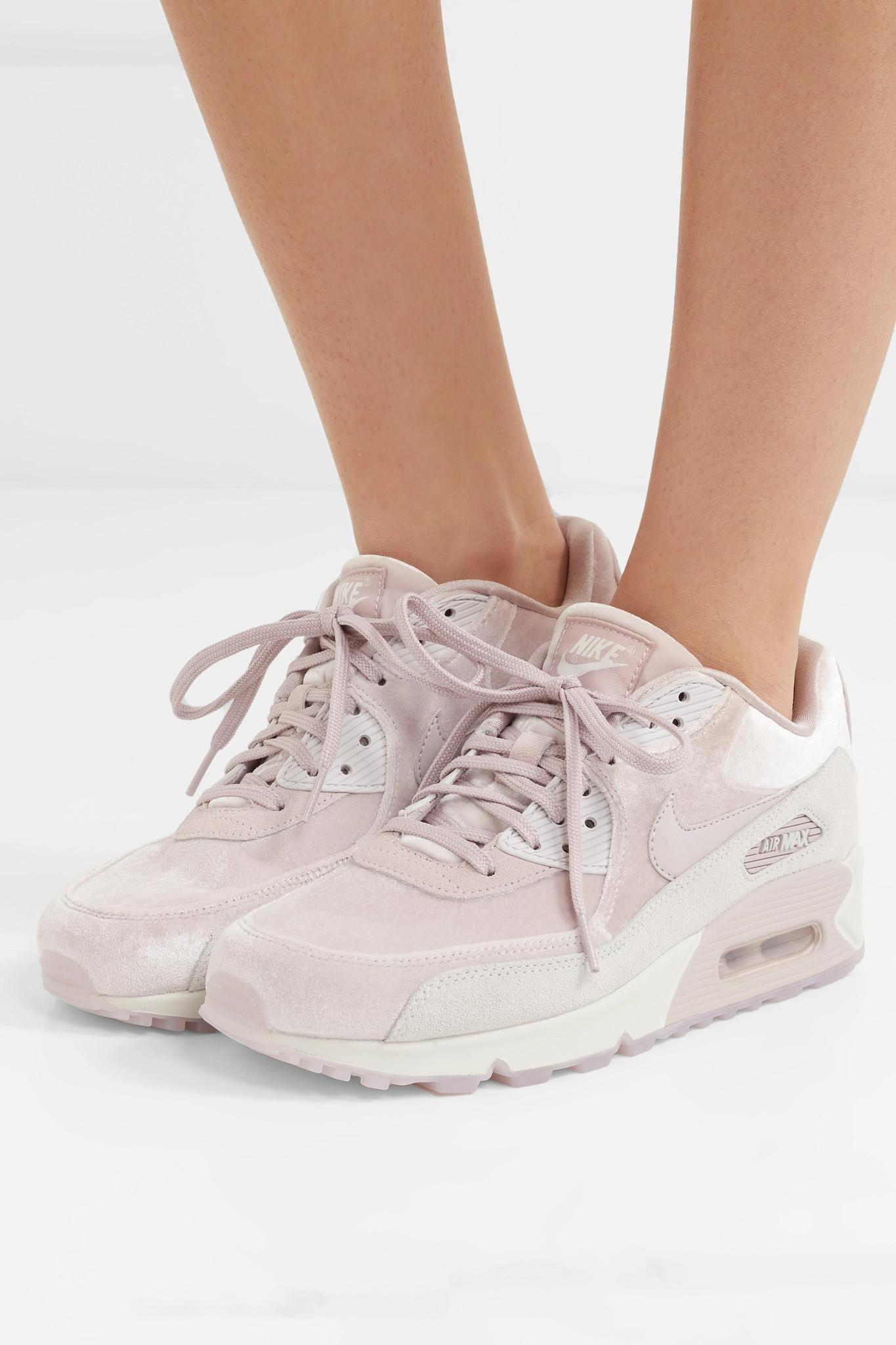 4811b14b6d Nike Air Max 90 Lx Velvet And Suede Sneakers in Pink - Lyst