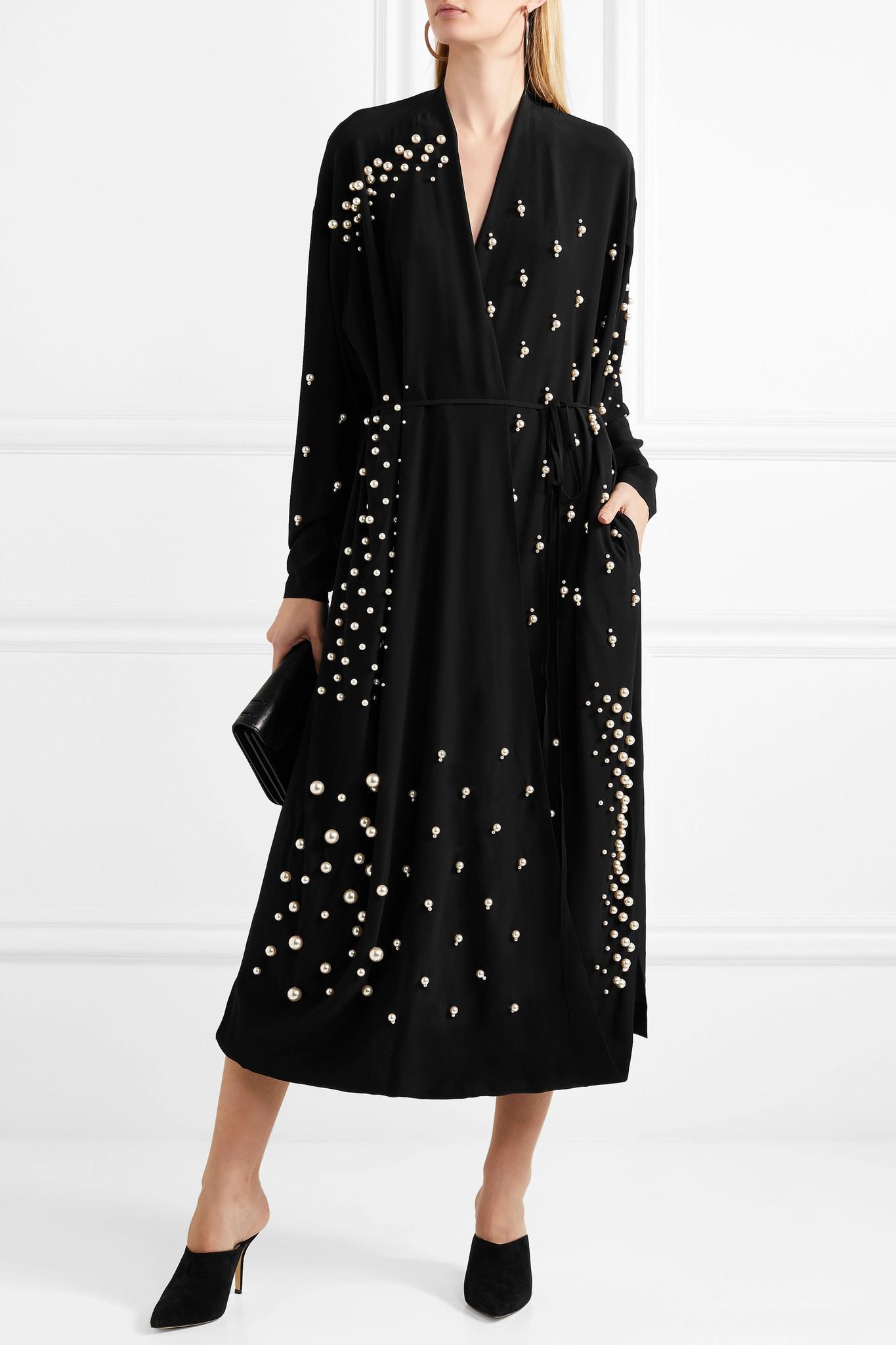 Oversized Faux Pearl-embellished Silk Crepe De Chine Wrap Dress - Black Stella McCartney Original Online Best Clearance Sast Clearance Websites 2viAb6