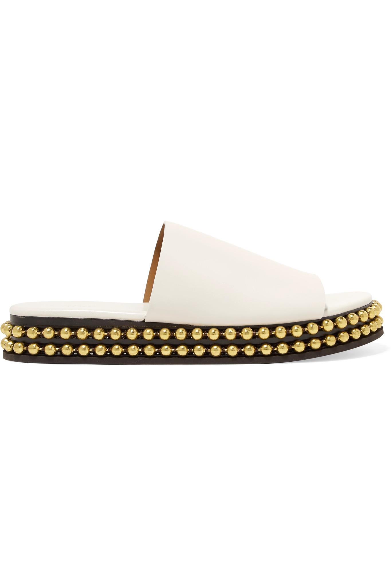 Sawyer Studded Leather Platform Slides - White Chlo uepMVy3t