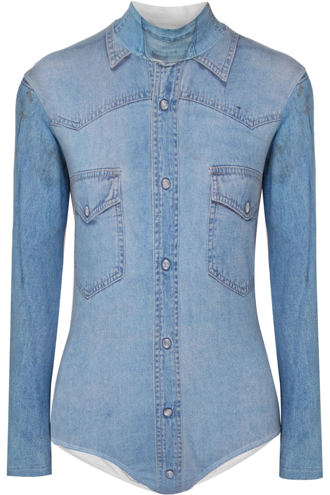 f4d5b1cf06b Vetements. Women s Blue Printed Two-tone Stretch-cotton Jersey Bodysuit