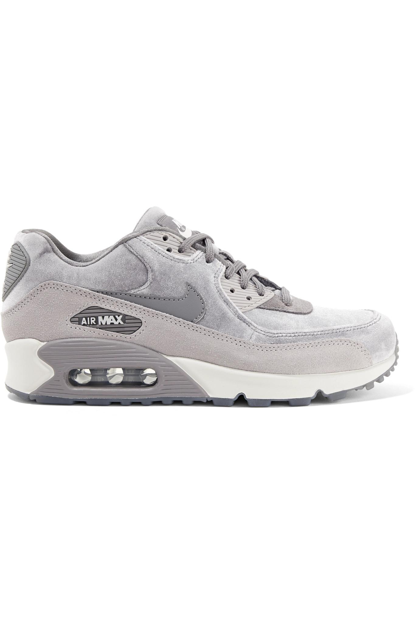 ccea563bd08 Lyst - Nike Air Max 90 Suede-trimmed Velvet Sneakers in Gray