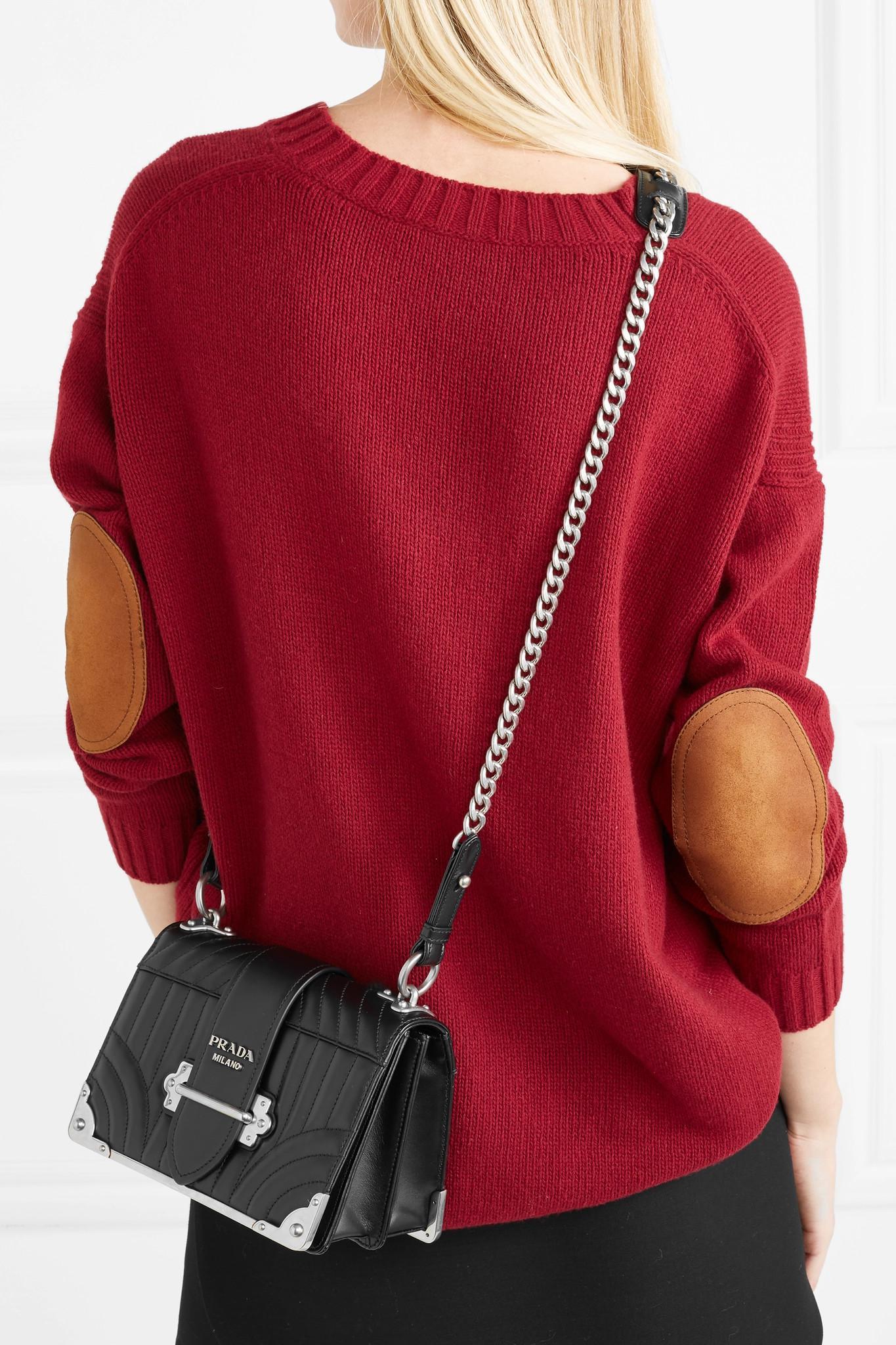 30cd16314ebd Prada Cahier Quilted Leather Shoulder Bag in Black - Lyst